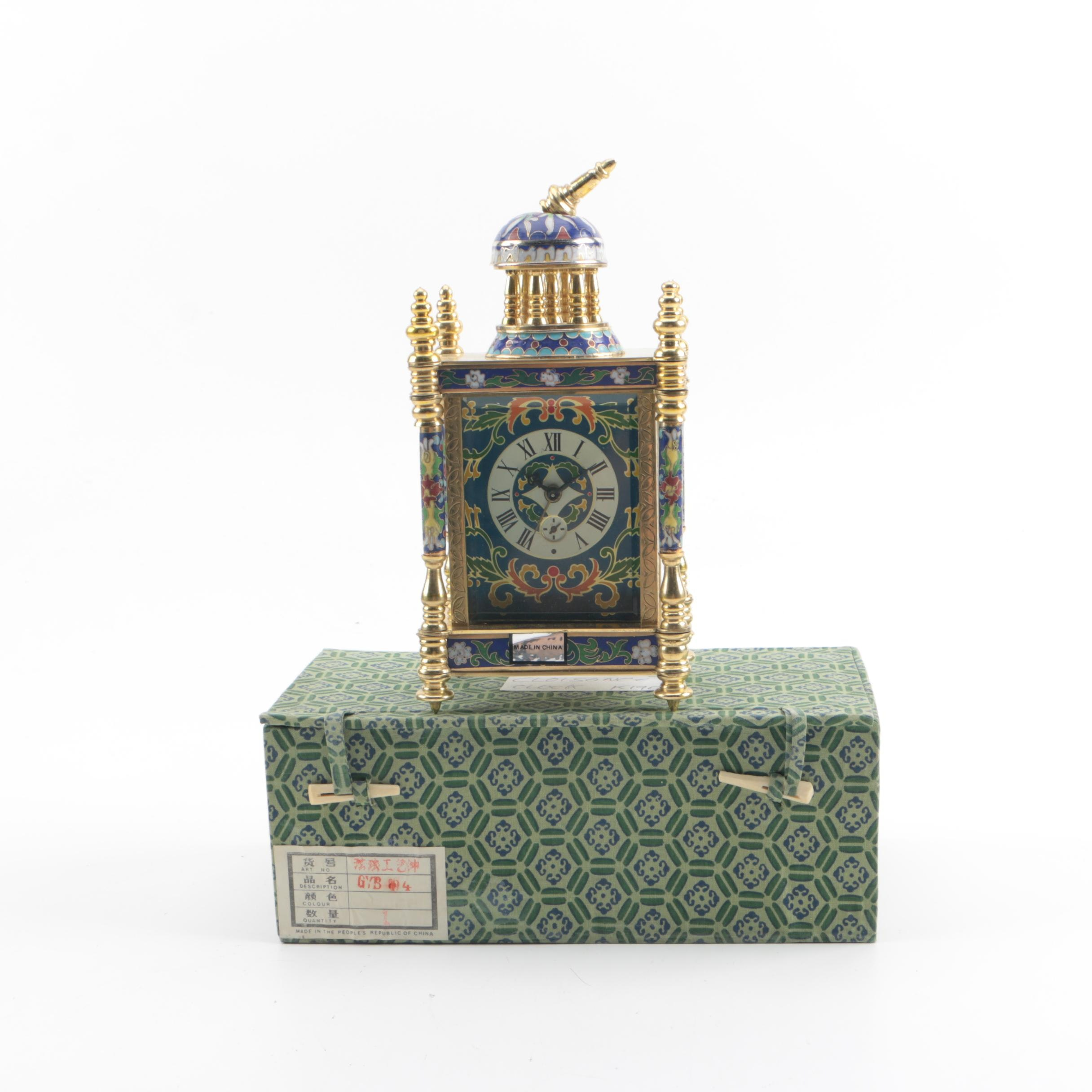 Chinese Cloisonné and Hand-Painted Column Style Mantel Clock