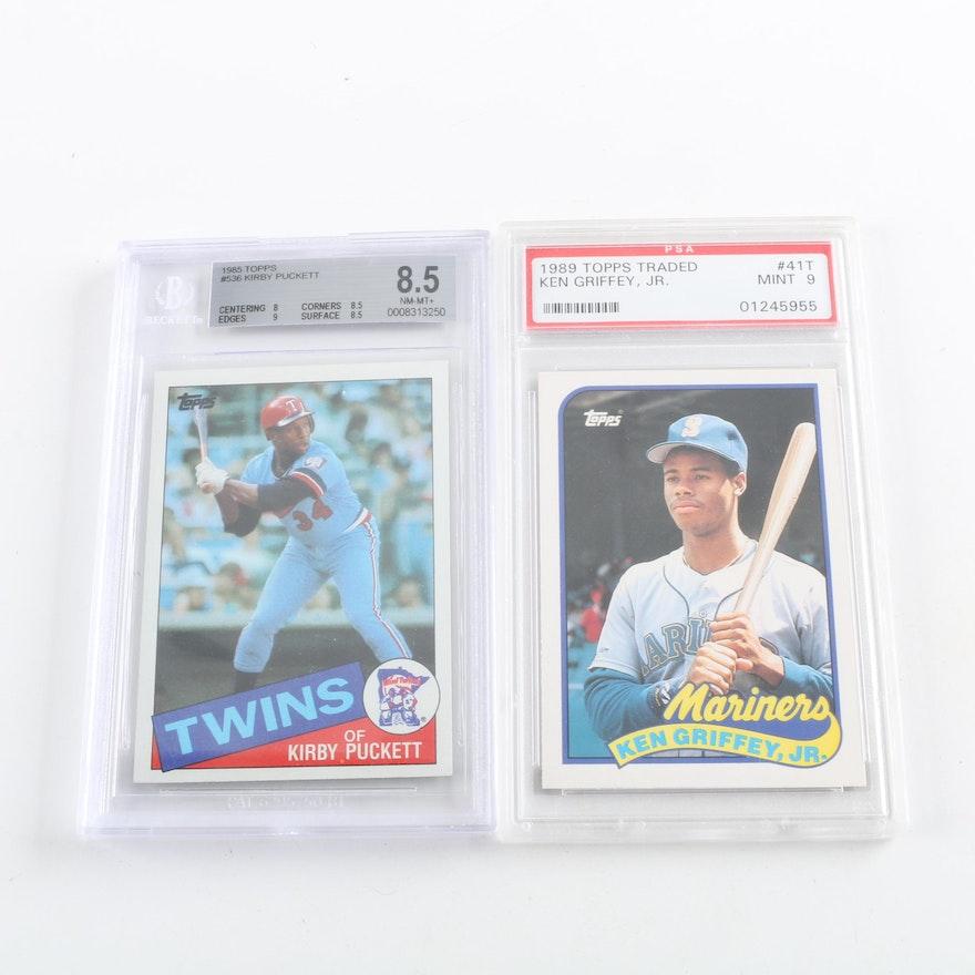 7c6764dd47 Ken Griffey, Jr. and Kirby Puckett Beckett and PSA Graded Rookie Baseball  Cards : EBTH