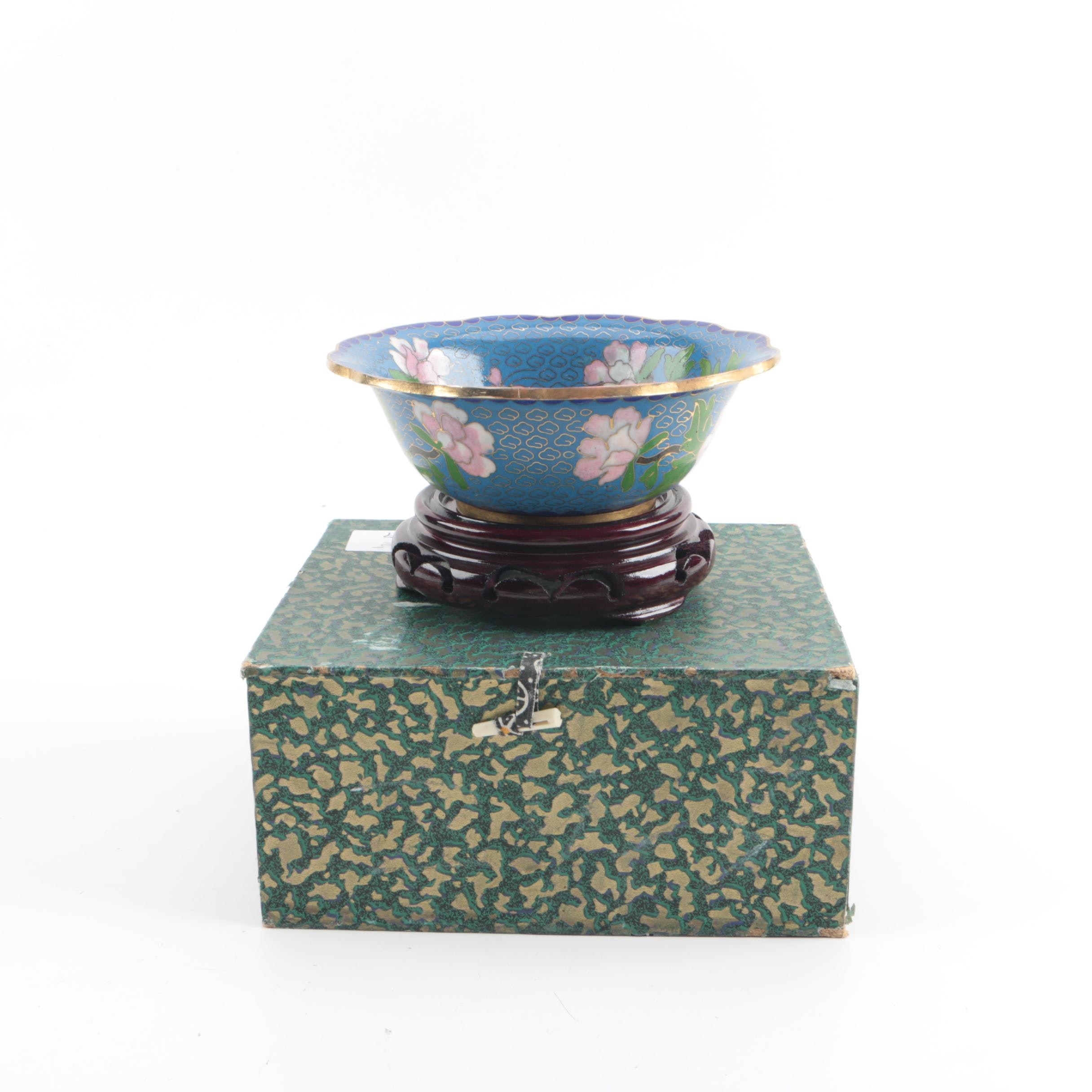 Chinese Cloisonné Pink Peony Motif Bowl on Wood Stand