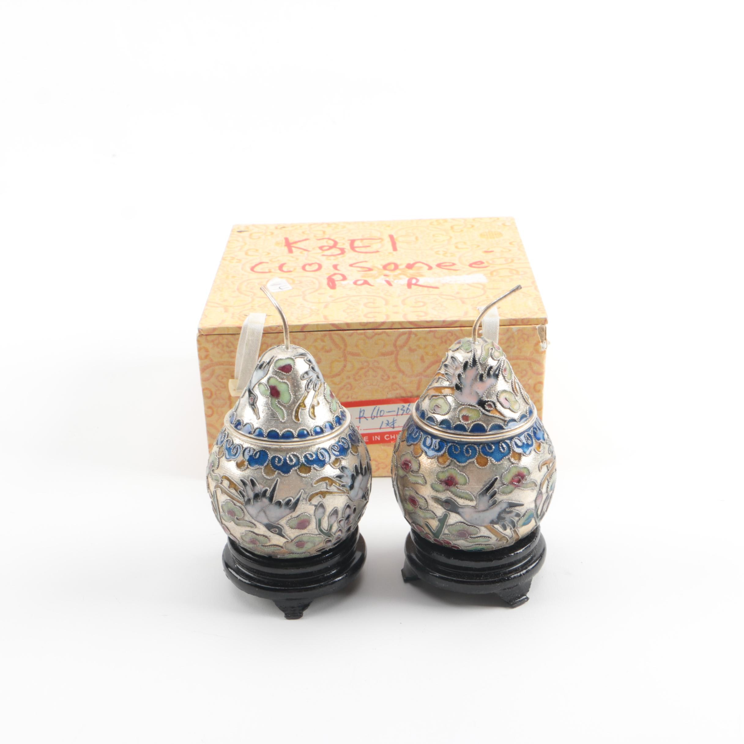 Chinese Cloisonné and Silver Tone Pear Boxes with Stands
