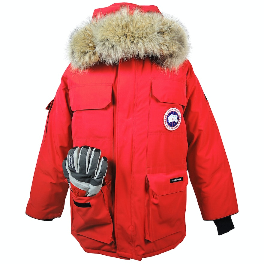 3ec3413a663 Men's Red Canada Goose Down Expedition Parka with Gordini Gloves : EBTH