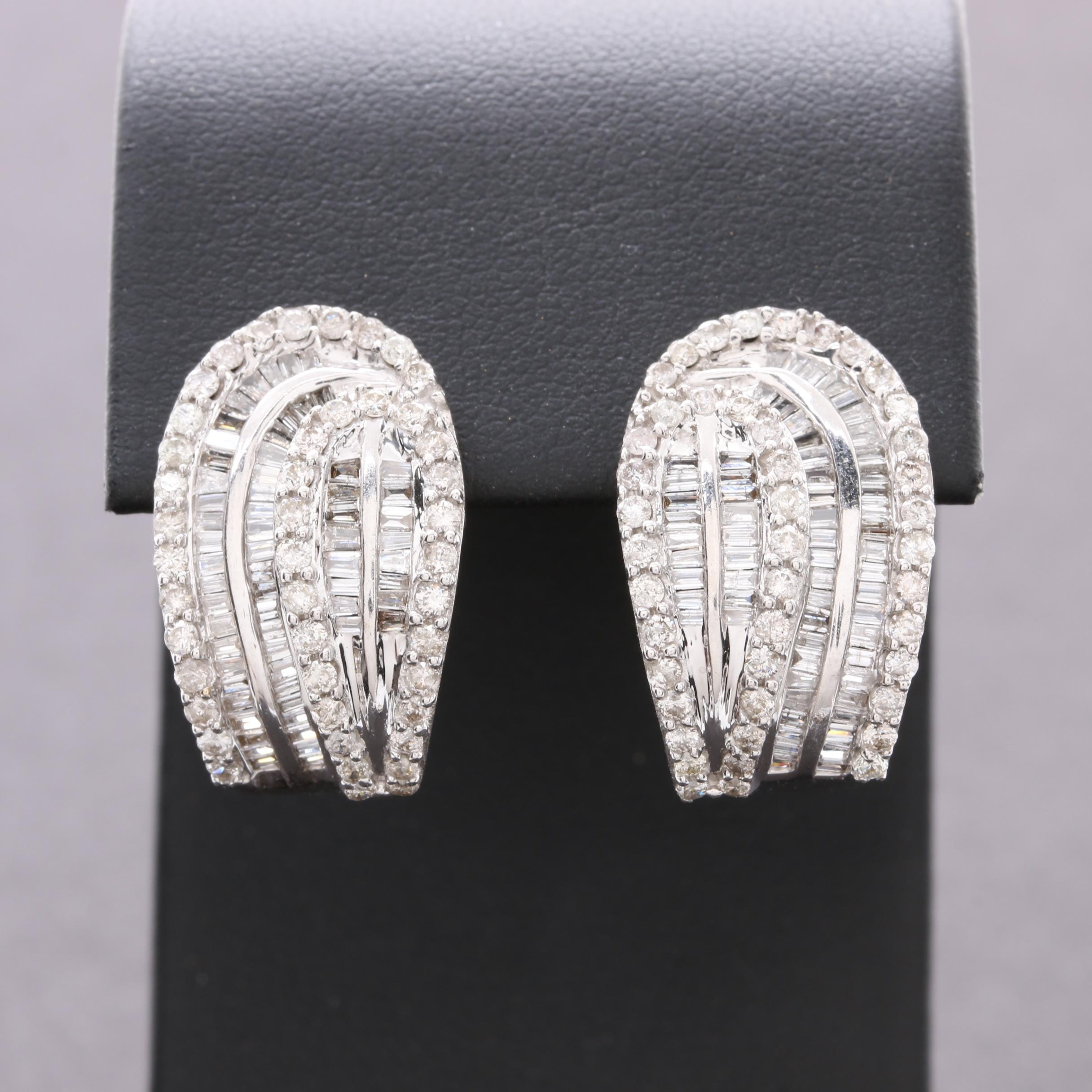 18K White Gold 2.81 CTW Diamond Earrings
