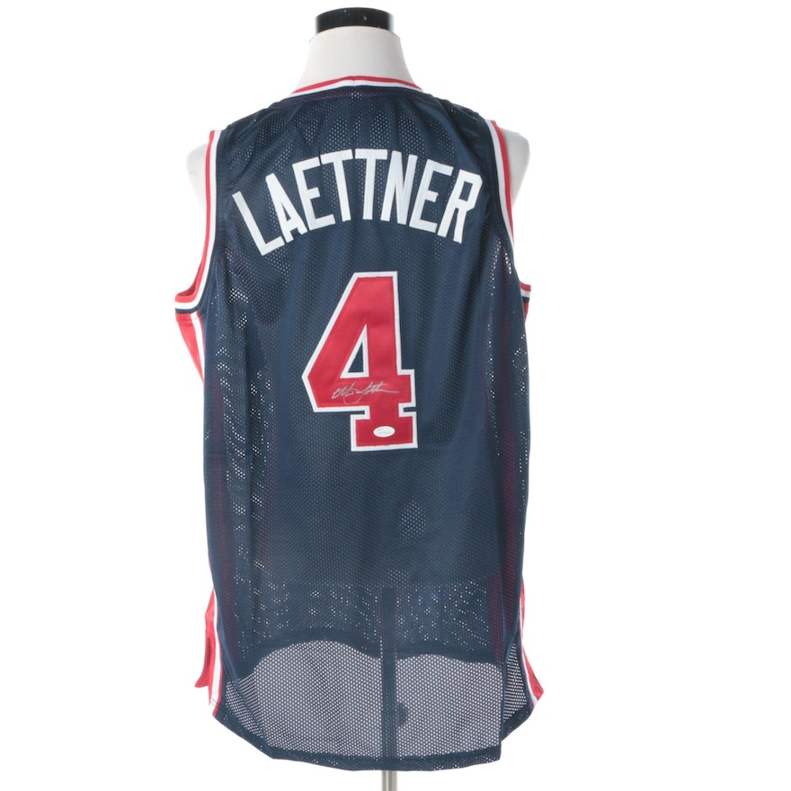 0b2c7bd6c35 Christian Laettner Autographed USA Olympic Basketball Jersey JSA COA   EBTH