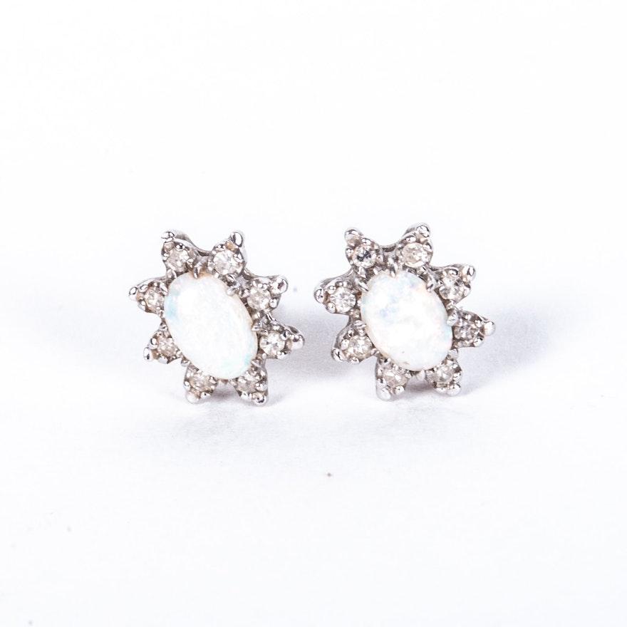 Wonderful 14K White Gold Opal and Diamond Earrings : EBTH DG38
