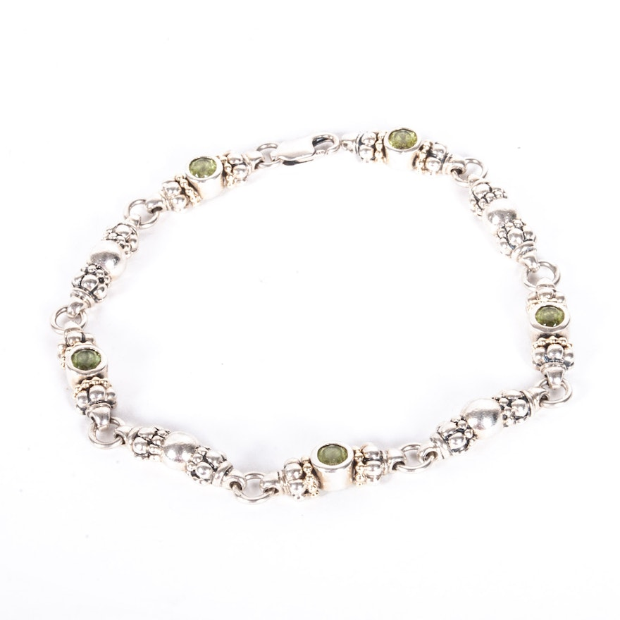Caviar By Lagos Sterling Silver And Peridot Bracelet With 18k White Gold Accents