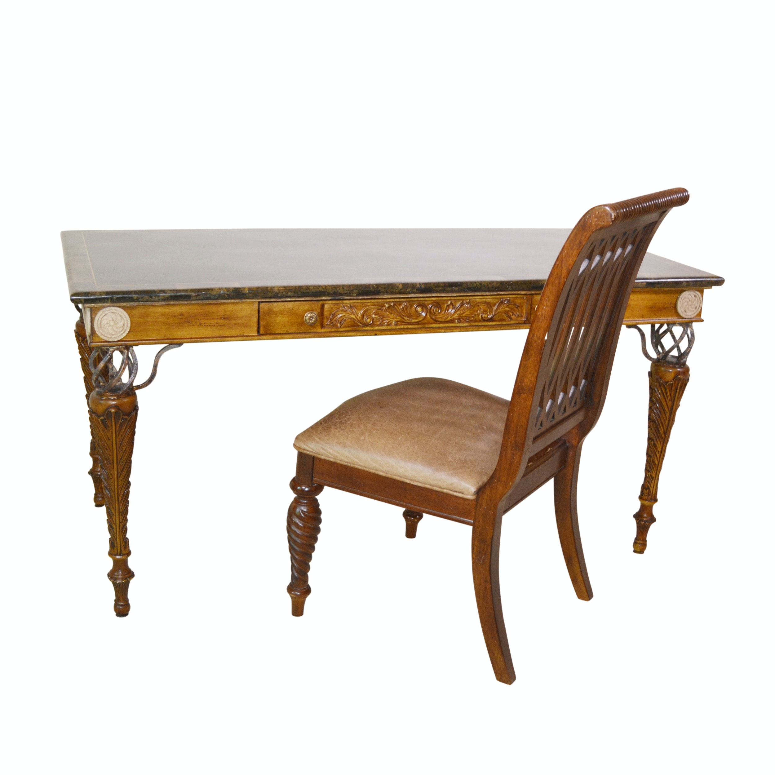 """Granite and Carved Wood Desk and Bernhardt """"Belmont"""" Chair"""