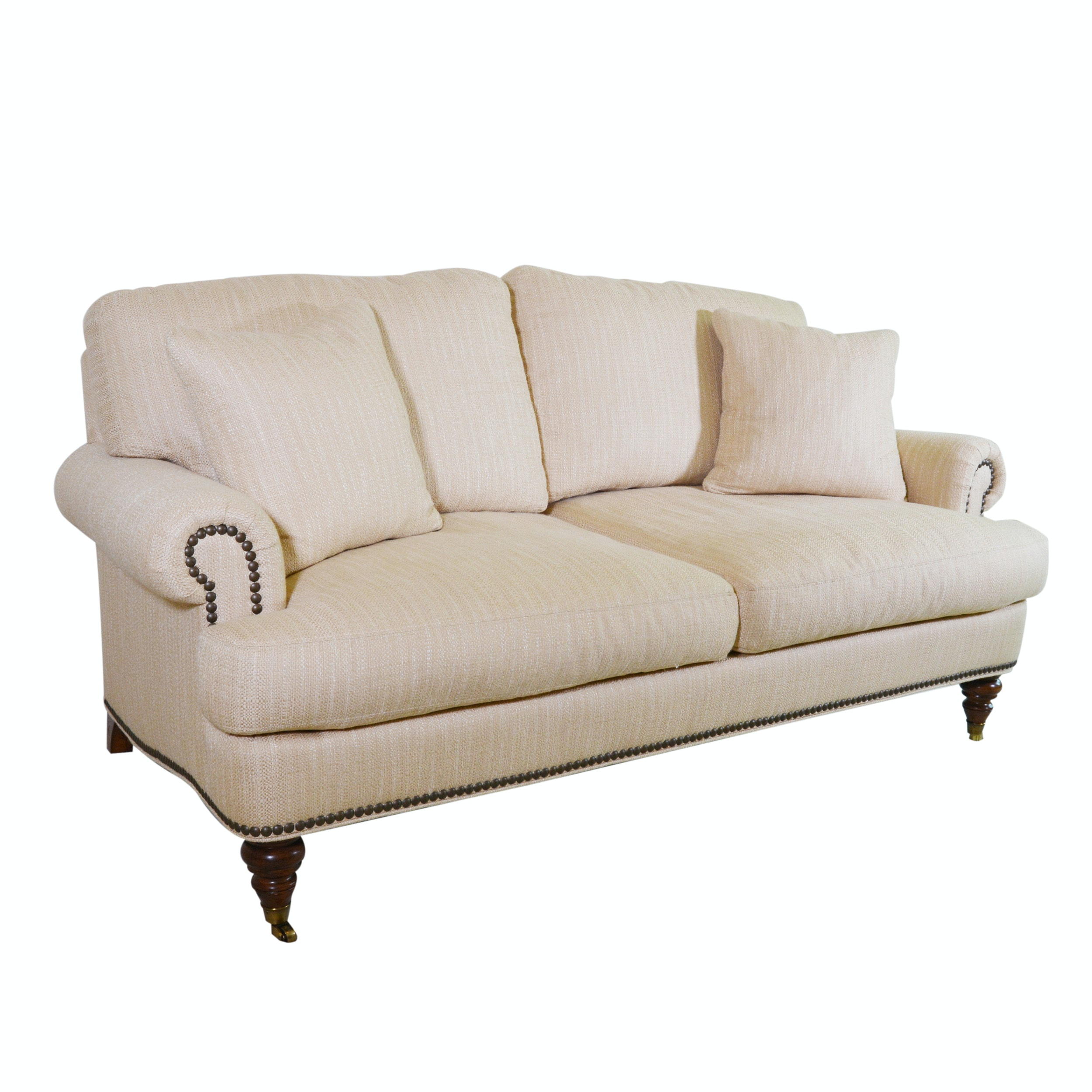 Tan Upholstered Sofa by Lillian August