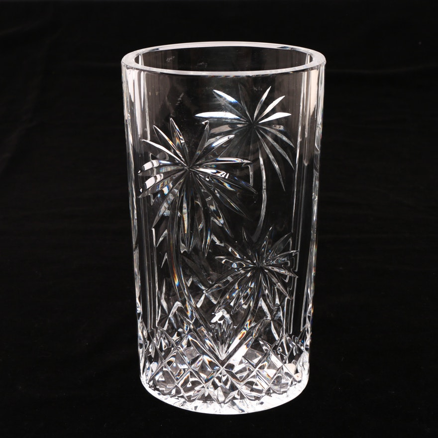 Waterford Crystal Oval Palm Tree Vase Ebth