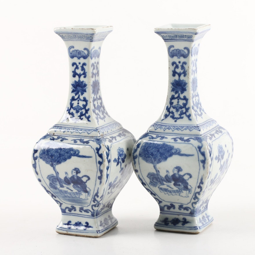 Vintage Chinese Blue And White Porcelain Vases Ebth