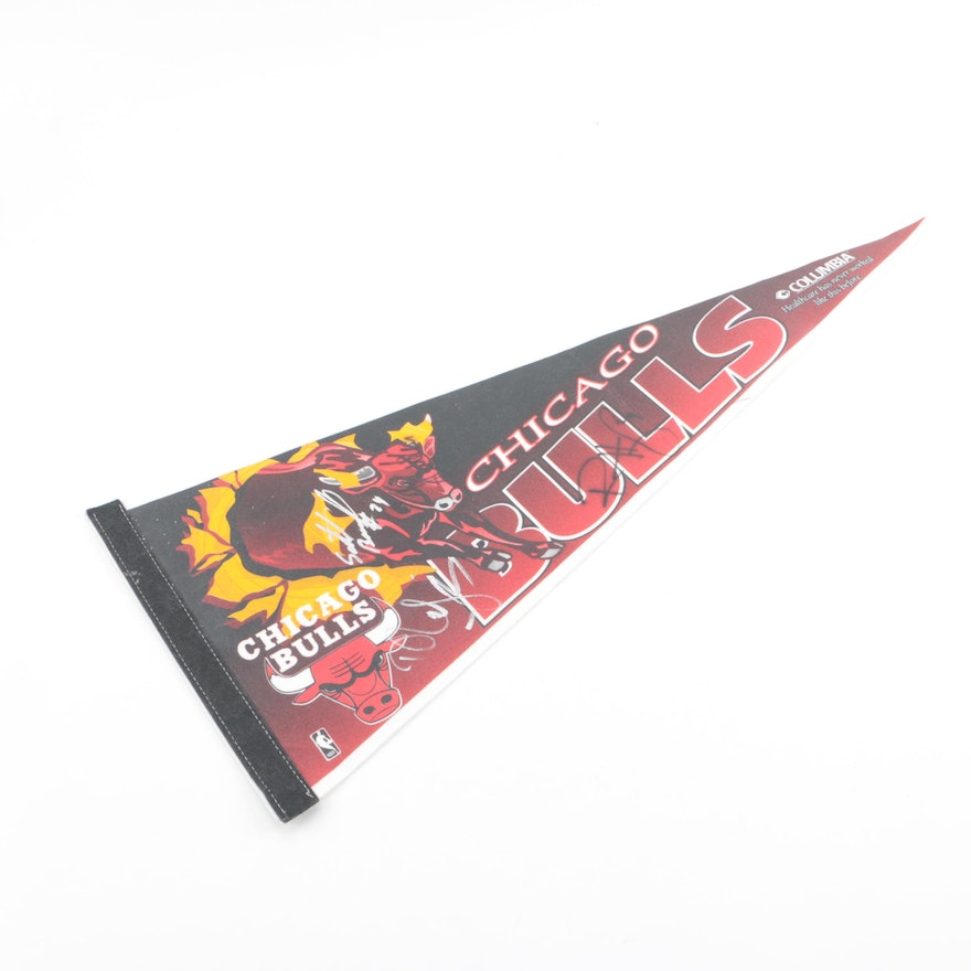 bd936c32d07e Steve Kerr and Other Members of the 1997-1998 Chicago Bulls Autographed  Pennant ...