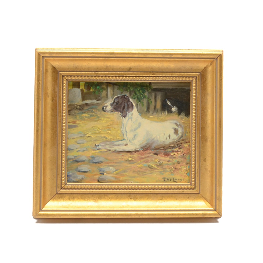 Chr. Larsen Oil Painting on Board of a Dog
