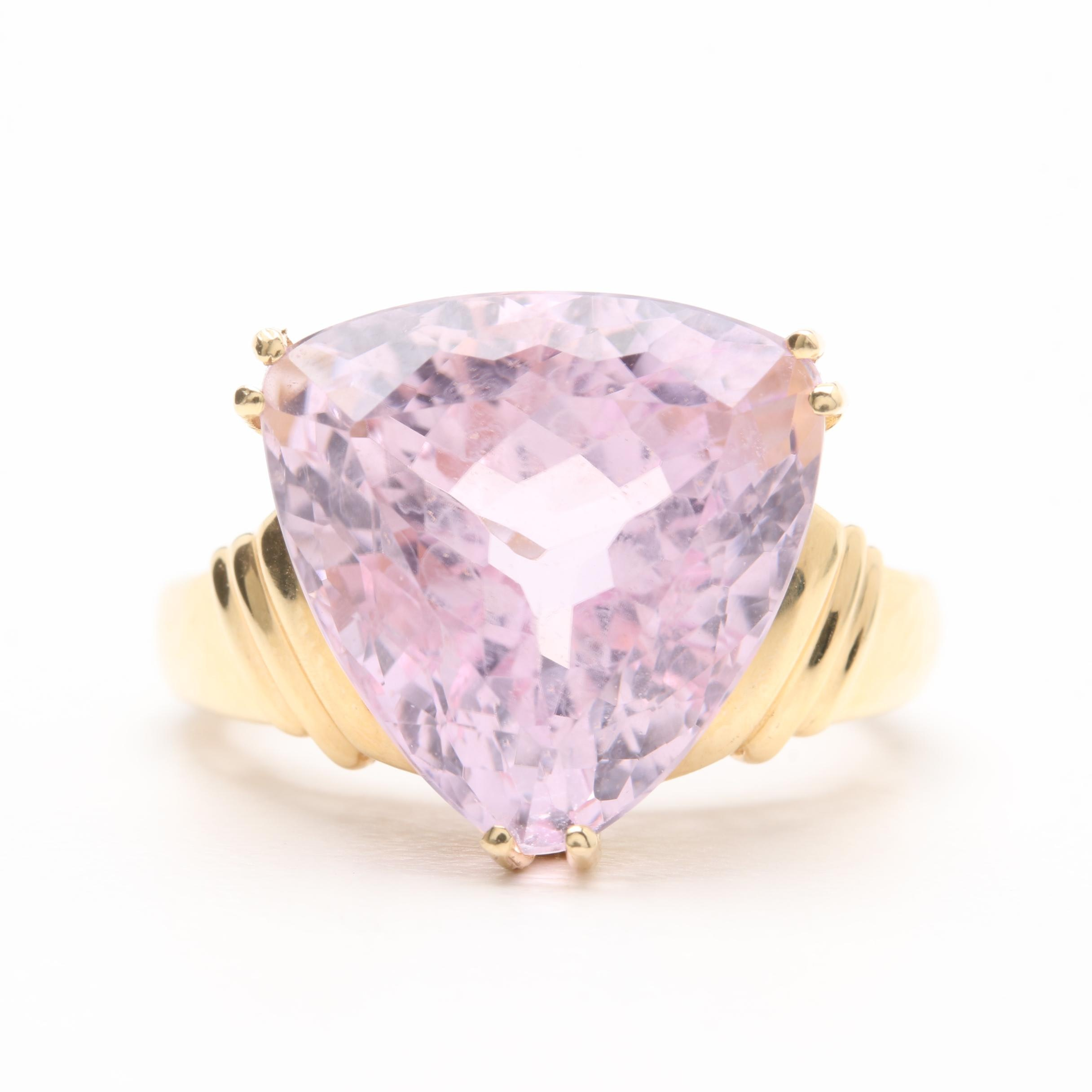 14K Yellow Gold 9.10 CT Kunzite Ring