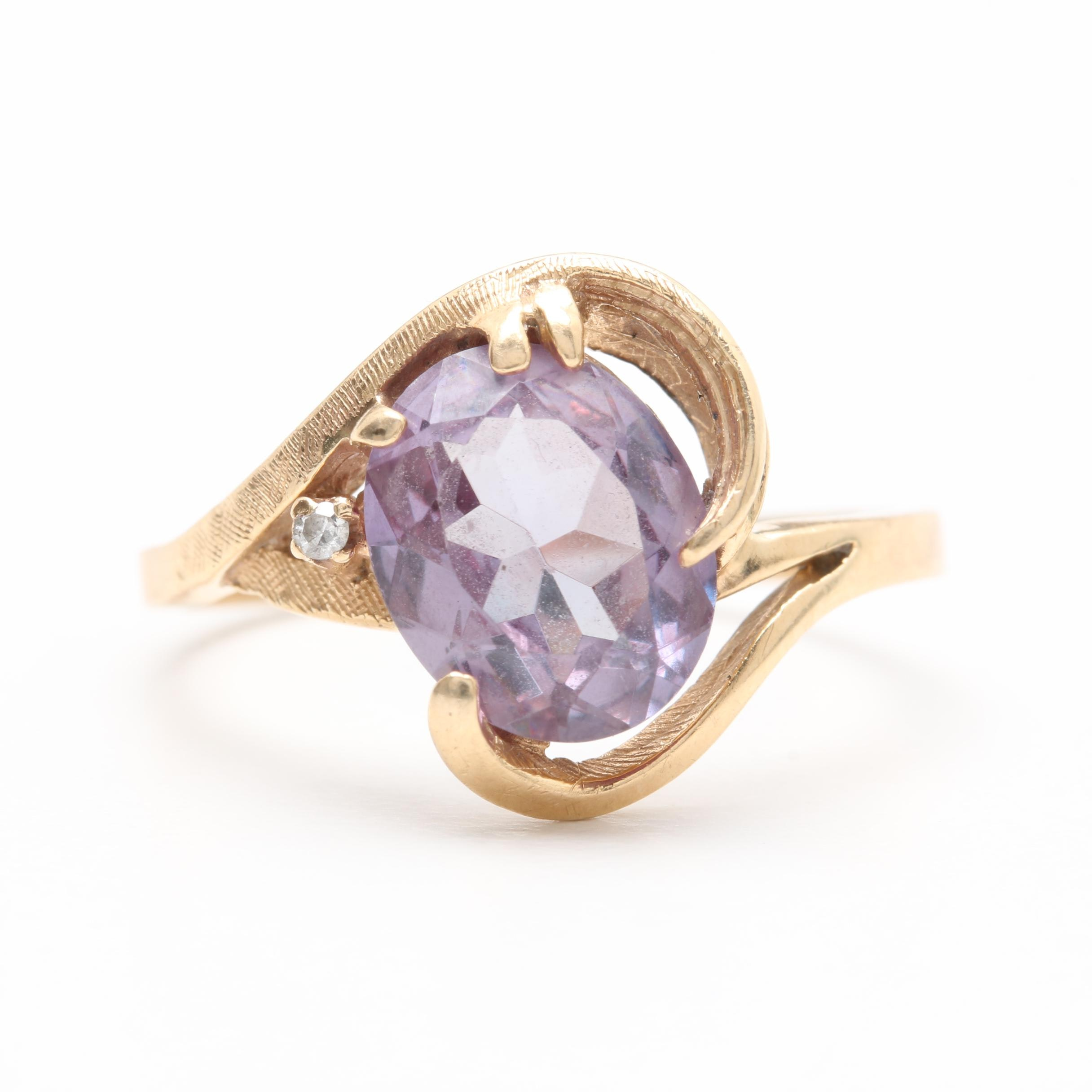 14K Yellow Gold Synthetic Color Change Sapphire and Diamond Ring