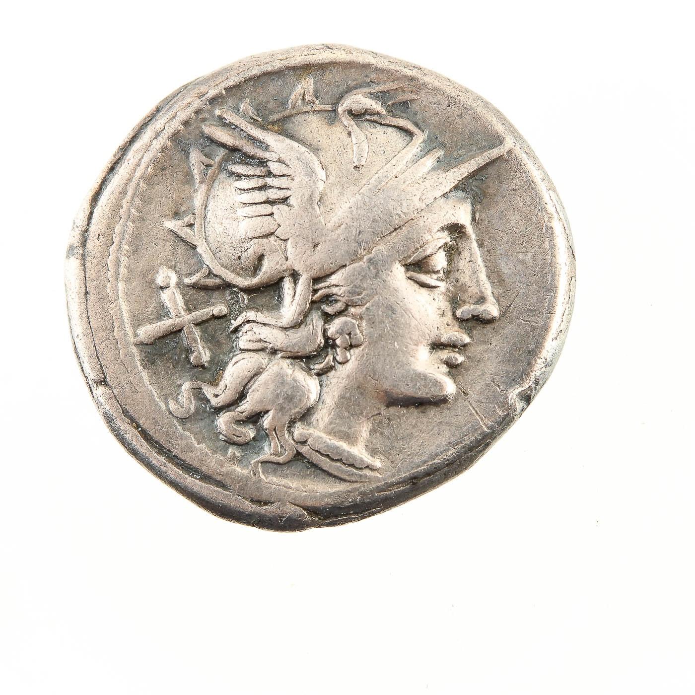 Ancient Roman Silver Denarius Coin Circa 150 B.C.