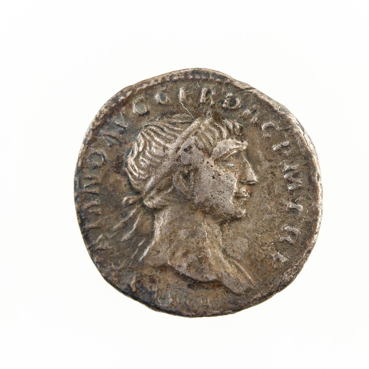 Ancient Roman Silver Denarius Coin: Trajan 98-117 AD