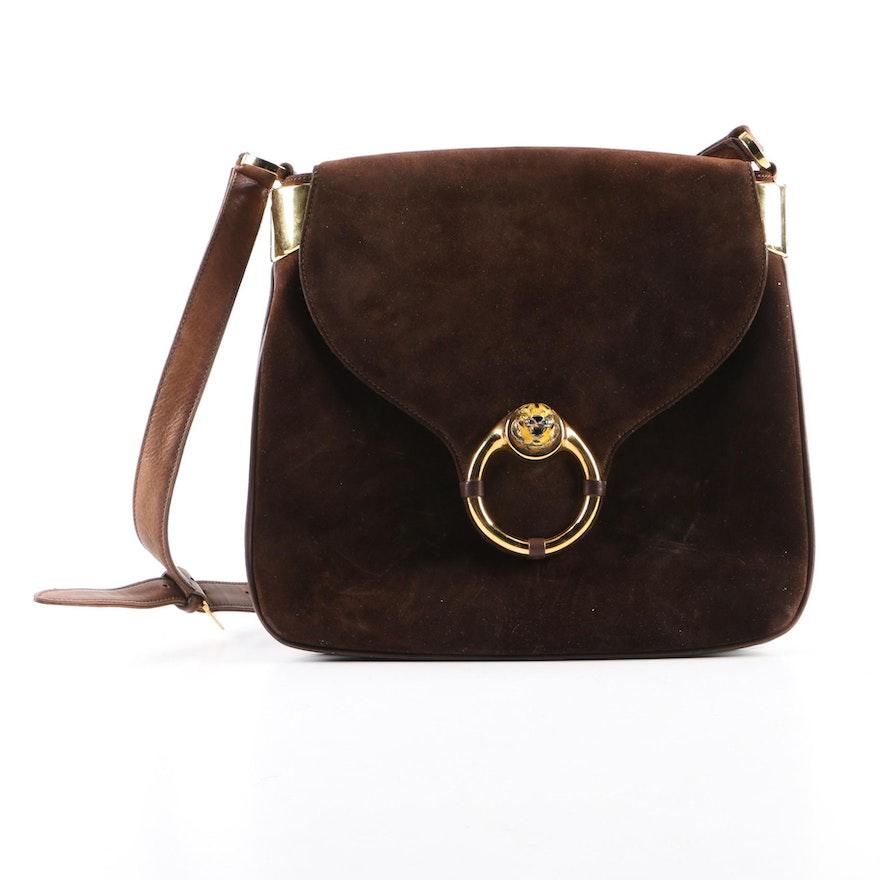 9b375764ac6 Vintage Gucci Brown Suede Shoulder Bag