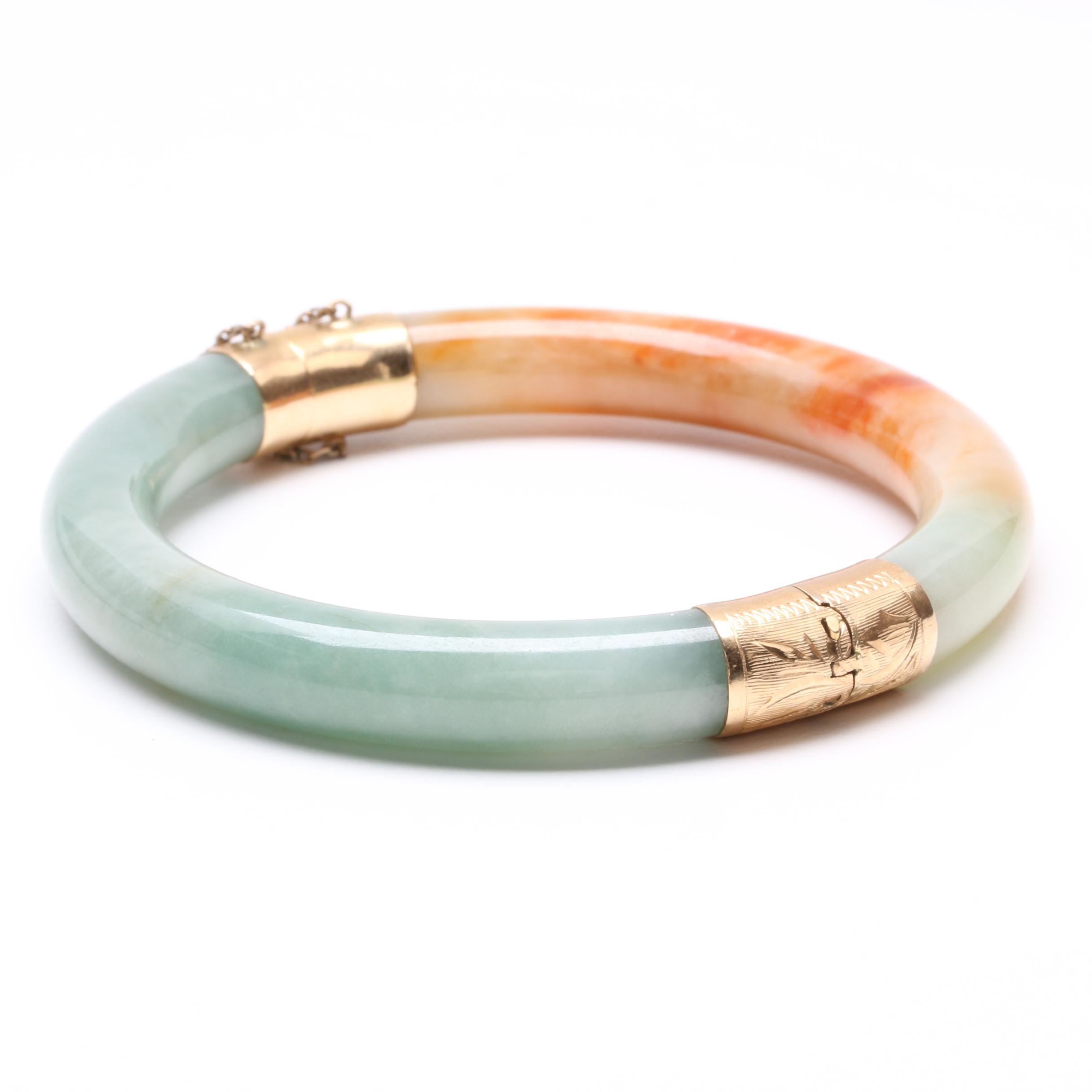 14K Yellow Gold Carved Jadeite Bangle