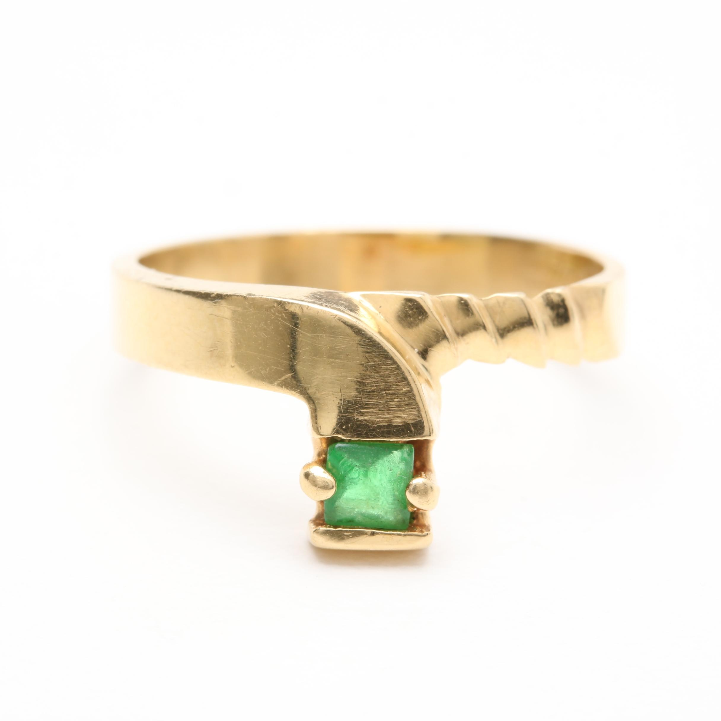 Vintage 18K Yellow Gold Green Glass Ring