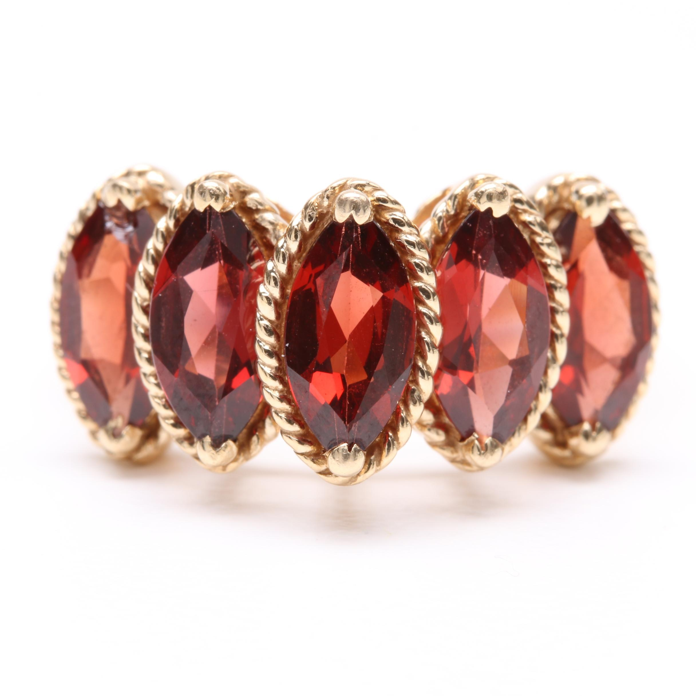 14K Yellow Gold Garnet Ring