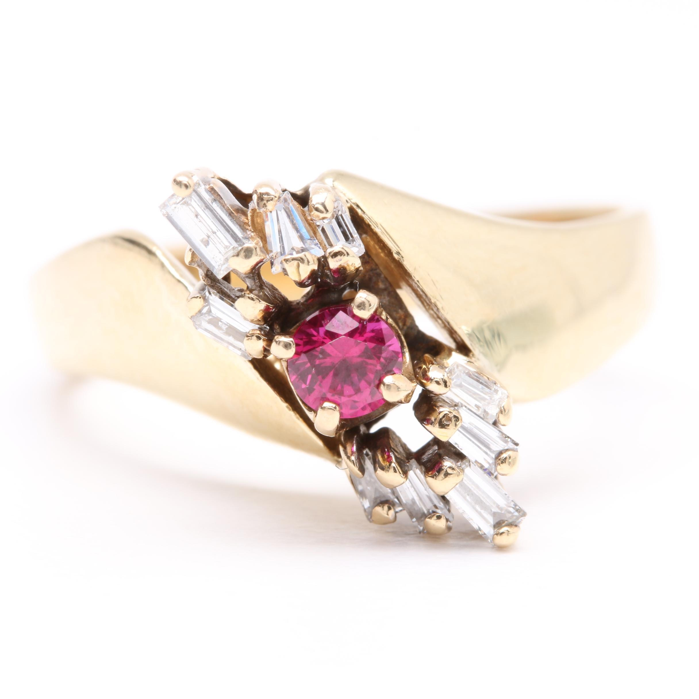 14K Yellow Gold Synthetic Ruby and Diamond Ring