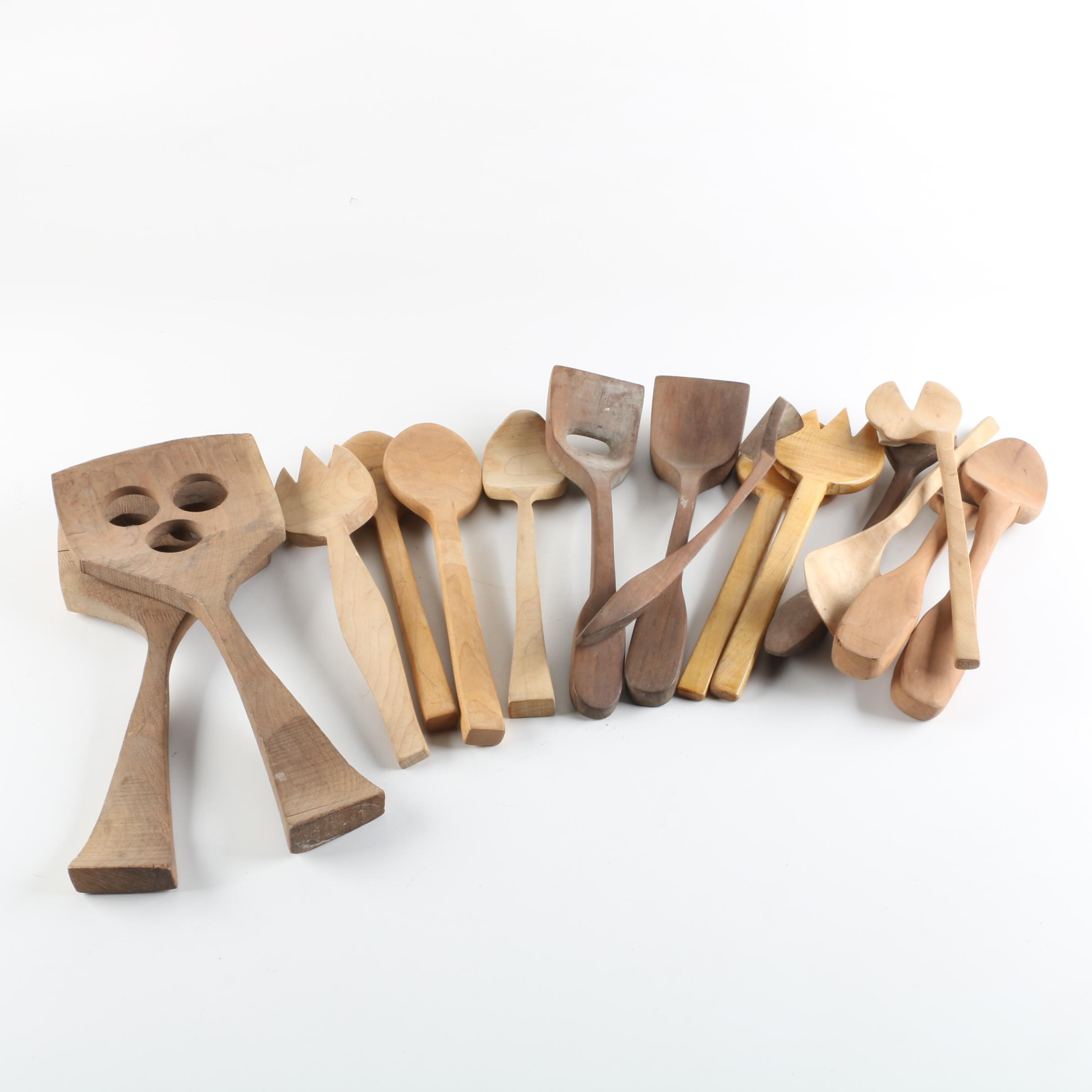 Carved Wood Kitchen Utensils