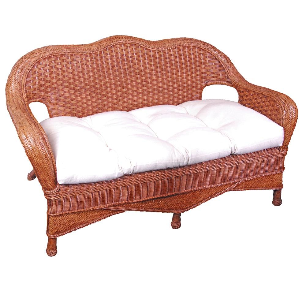 Brown Wicker Weave Bench