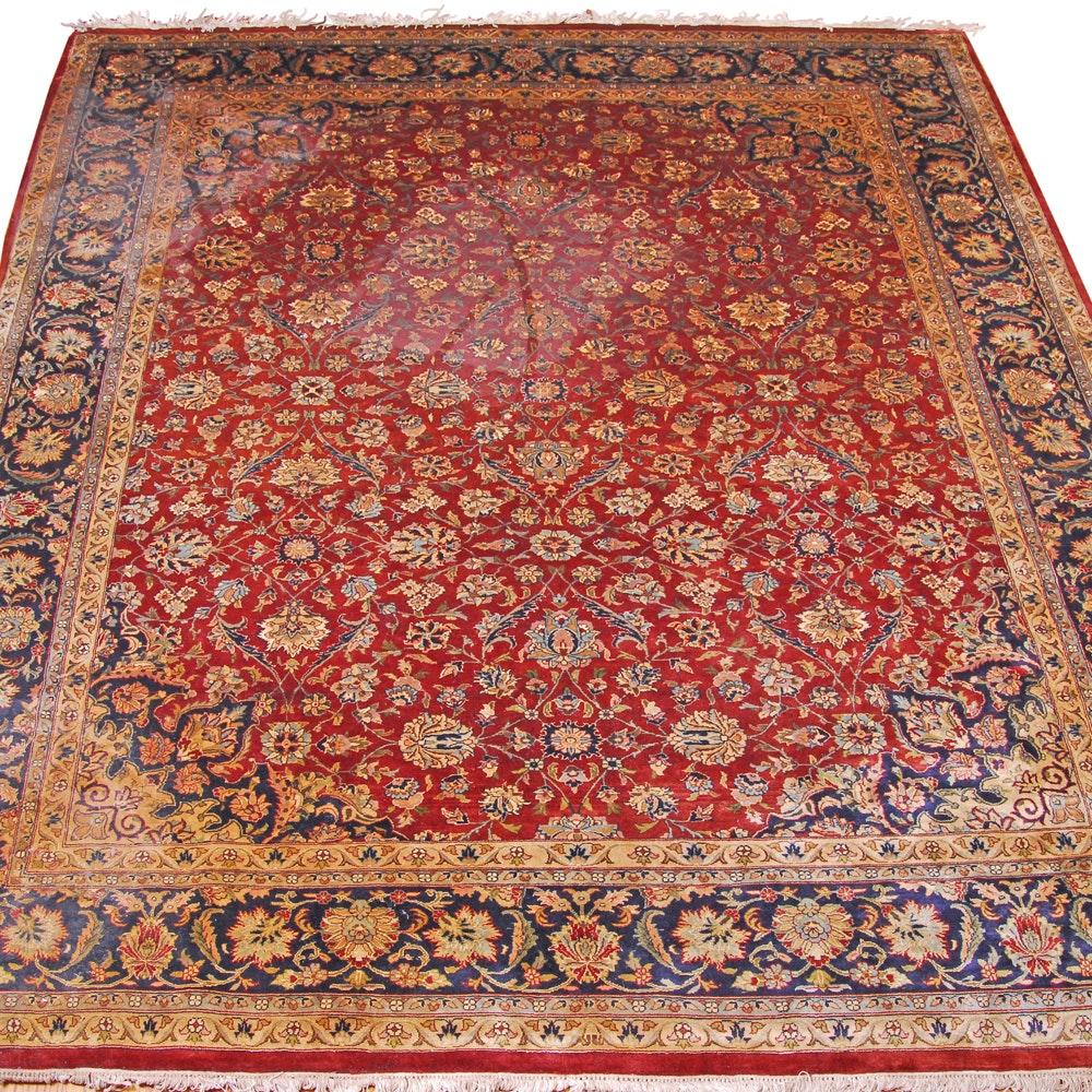 Hand-Knotted Pakistani Kashmiri Wool Area Rug