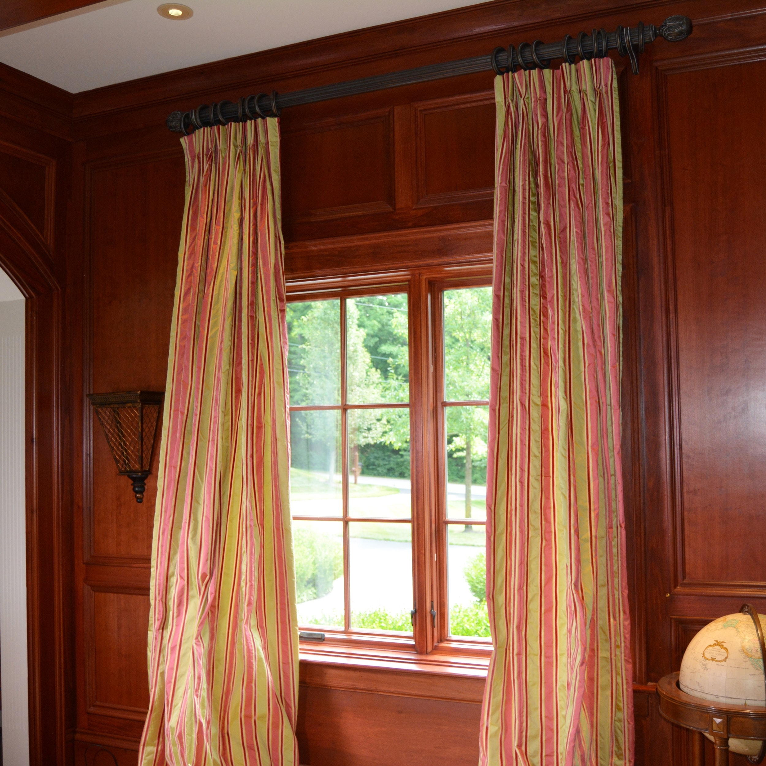 Four Celadon and Rose Striped Lined Drapery Panels