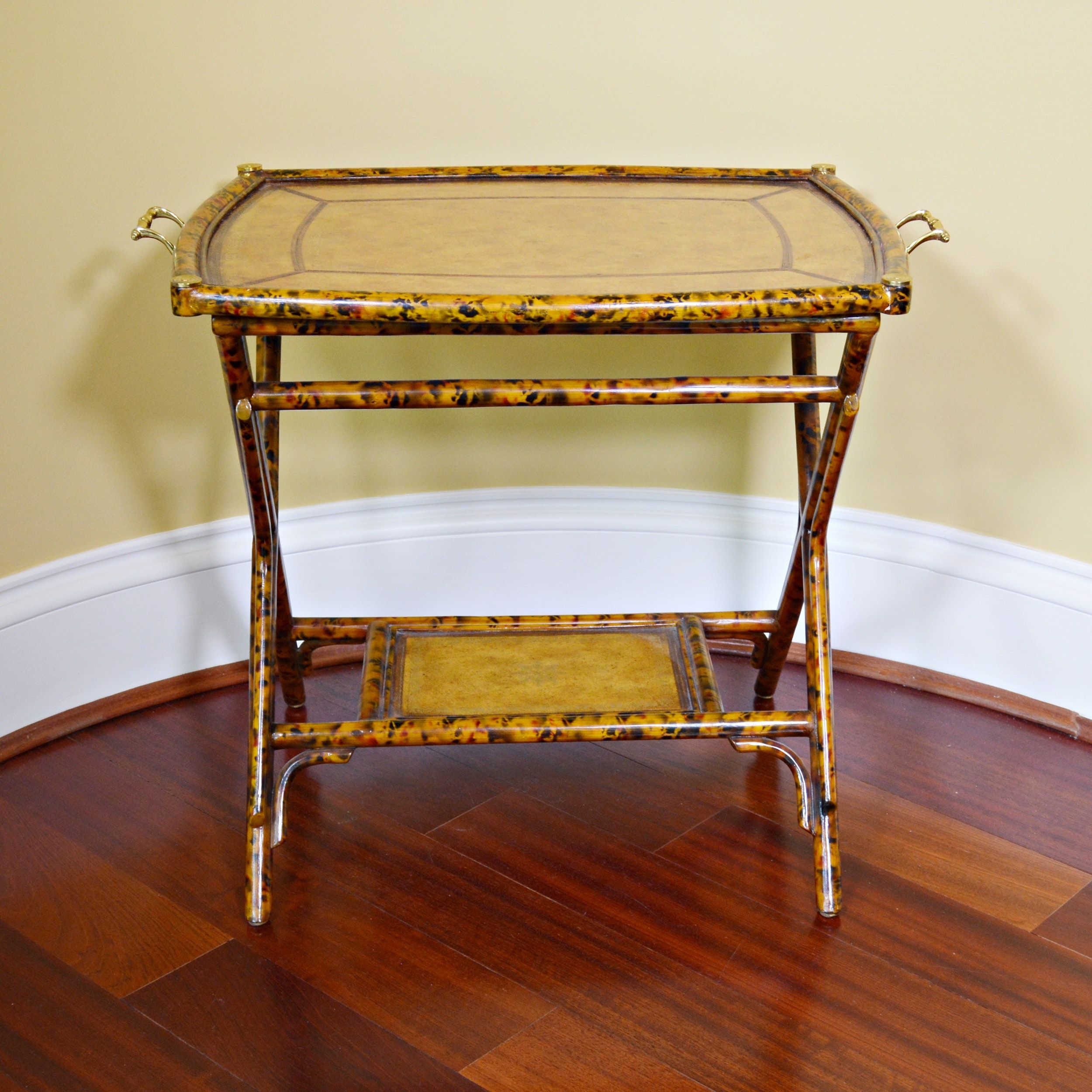Maitland-Smith Bamboo and Leather Tray Table