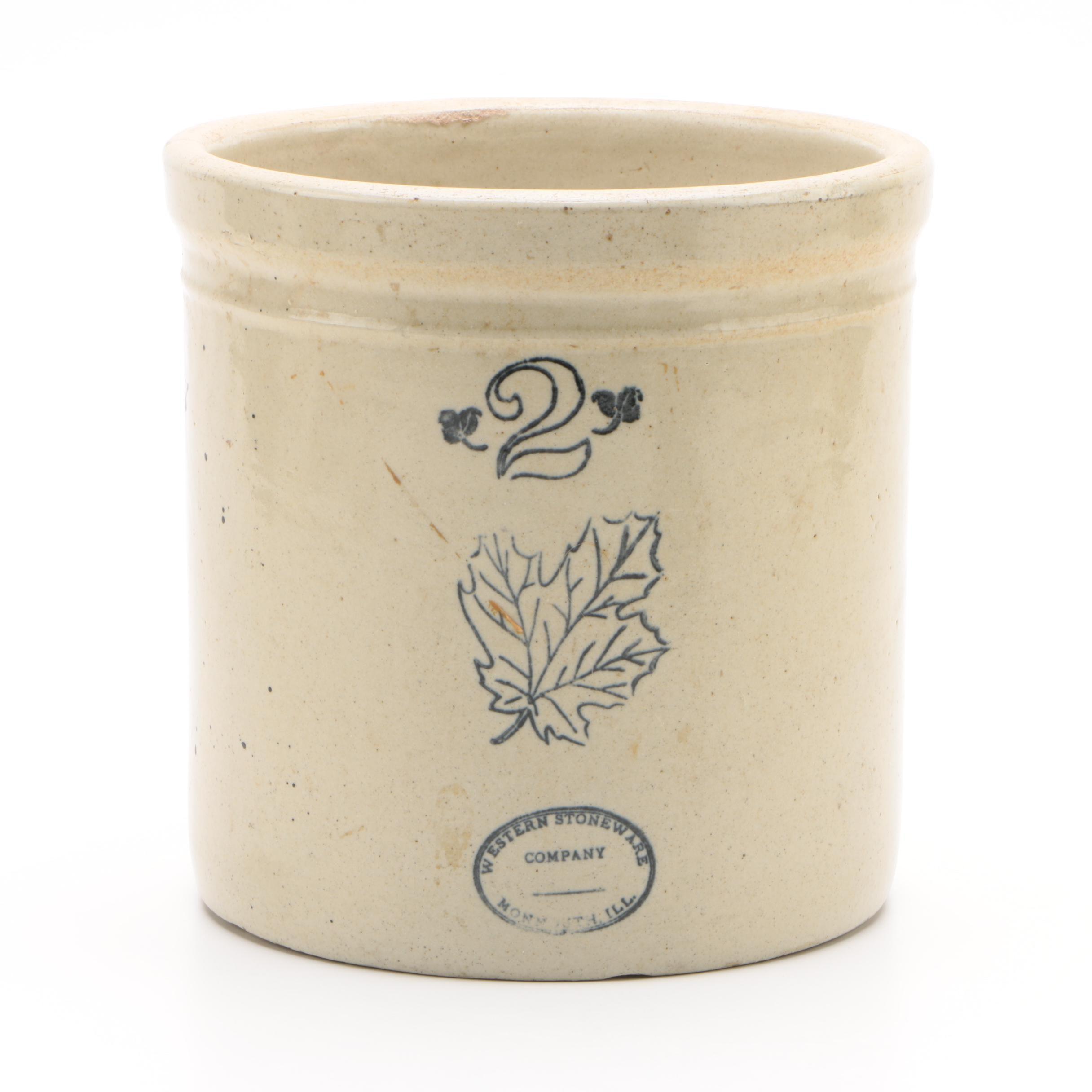 Vintage Western Stoneware Company Two-Gallon Salt Glazed Crock