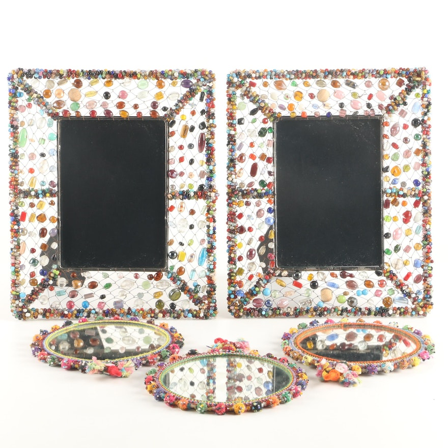 Beaded Picture Frames with Embroidered and Beaded Round Accent ...