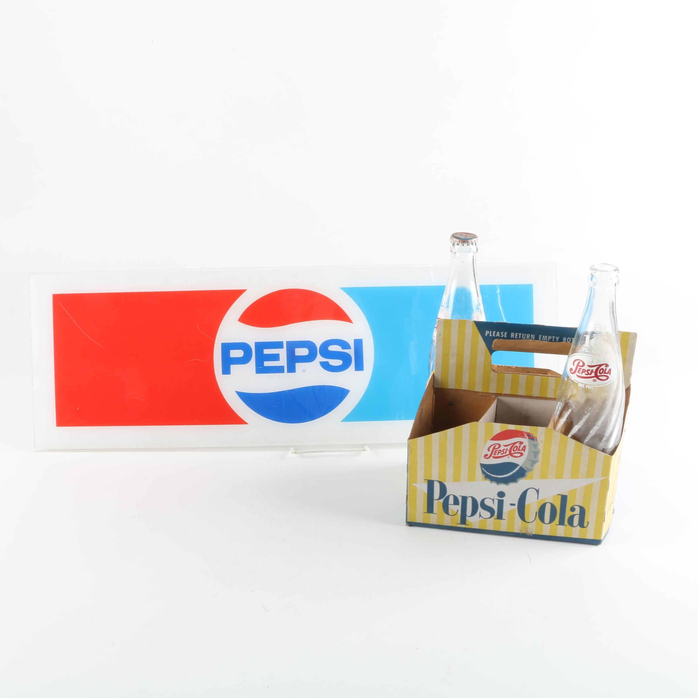 Pepsi Cola Sign, Bottles and Cardboard Carrier