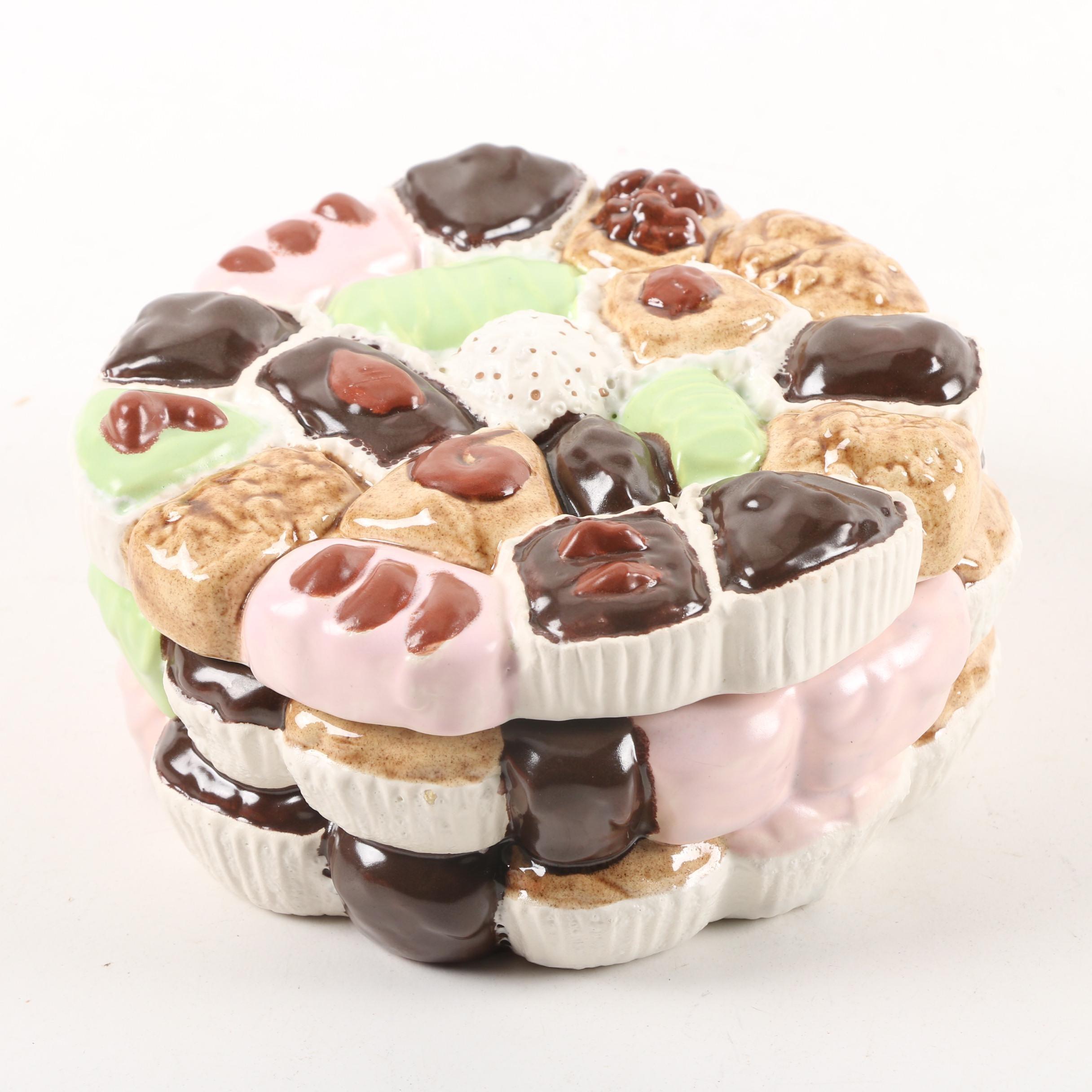 Vintage Dessert Themed Earthenware Candy Jar