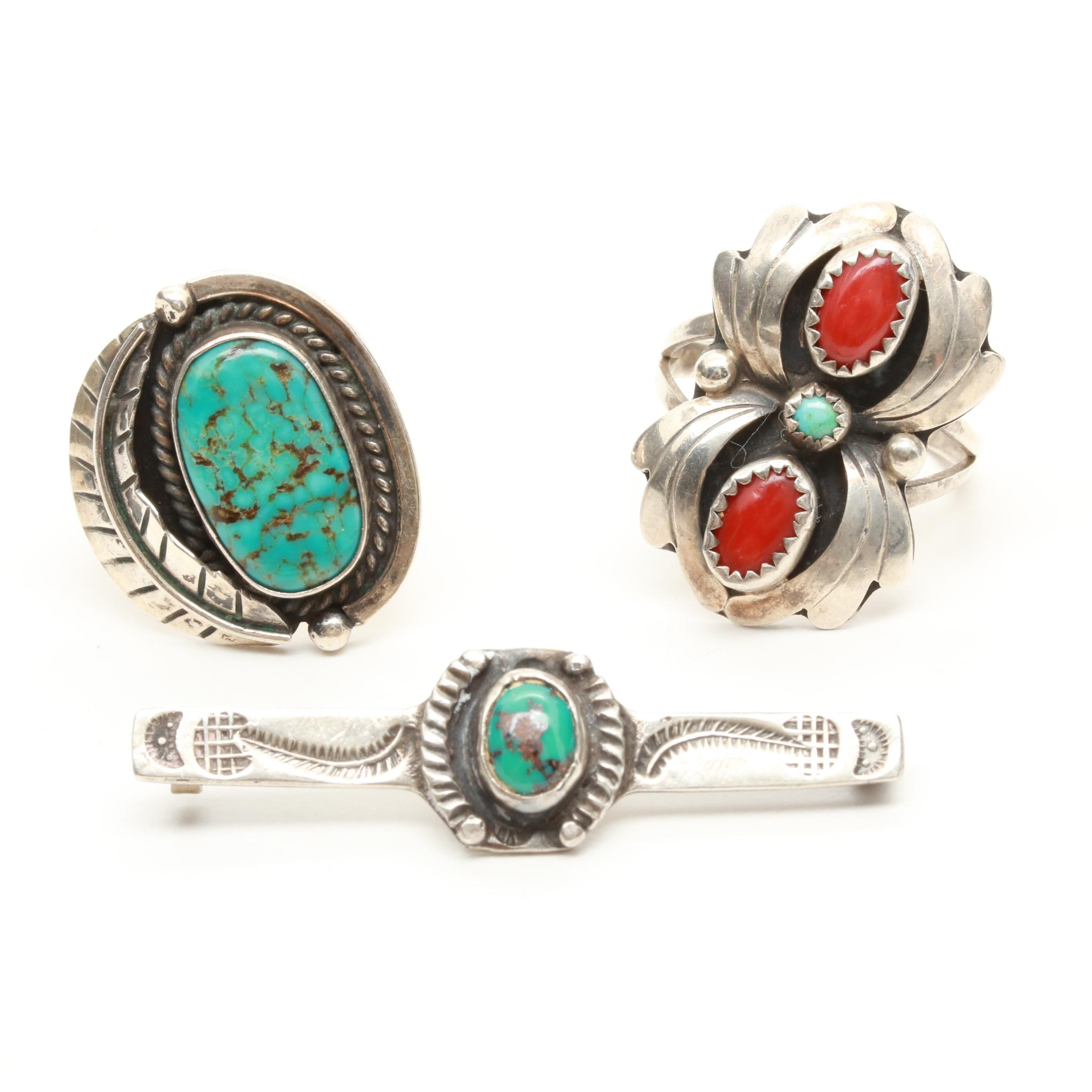 Southwestern Style Sterling Silver Turquoise and Coral Brooch and Rings