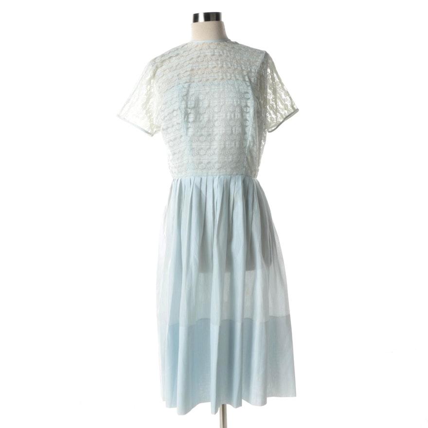 72a0770d1a Circa 1950s Vintage L Aiglon Pale Blue Cotton and Lace Day Dress   EBTH