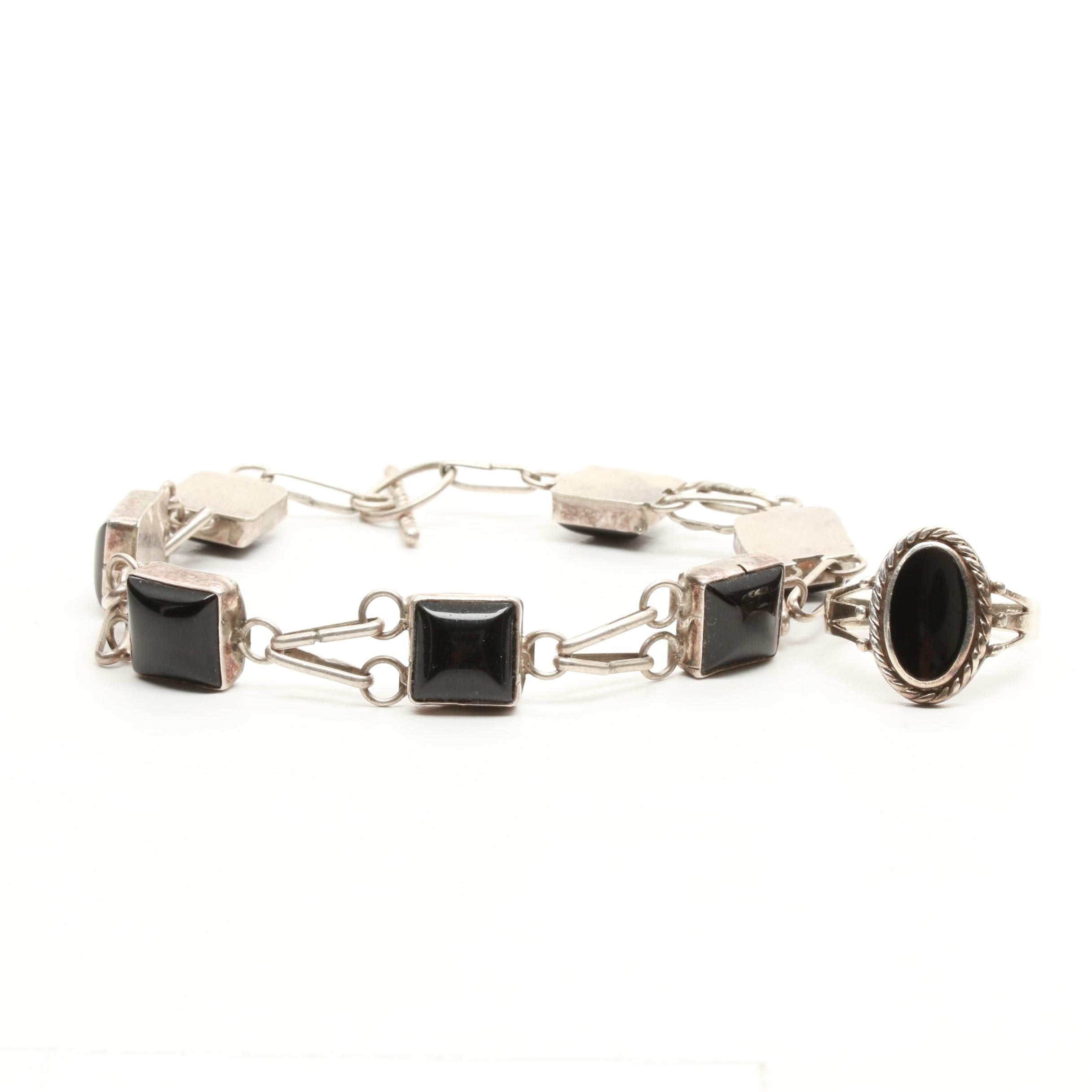 Sterling Silver Imitation Onyx and Onyx Bracelet and Ring