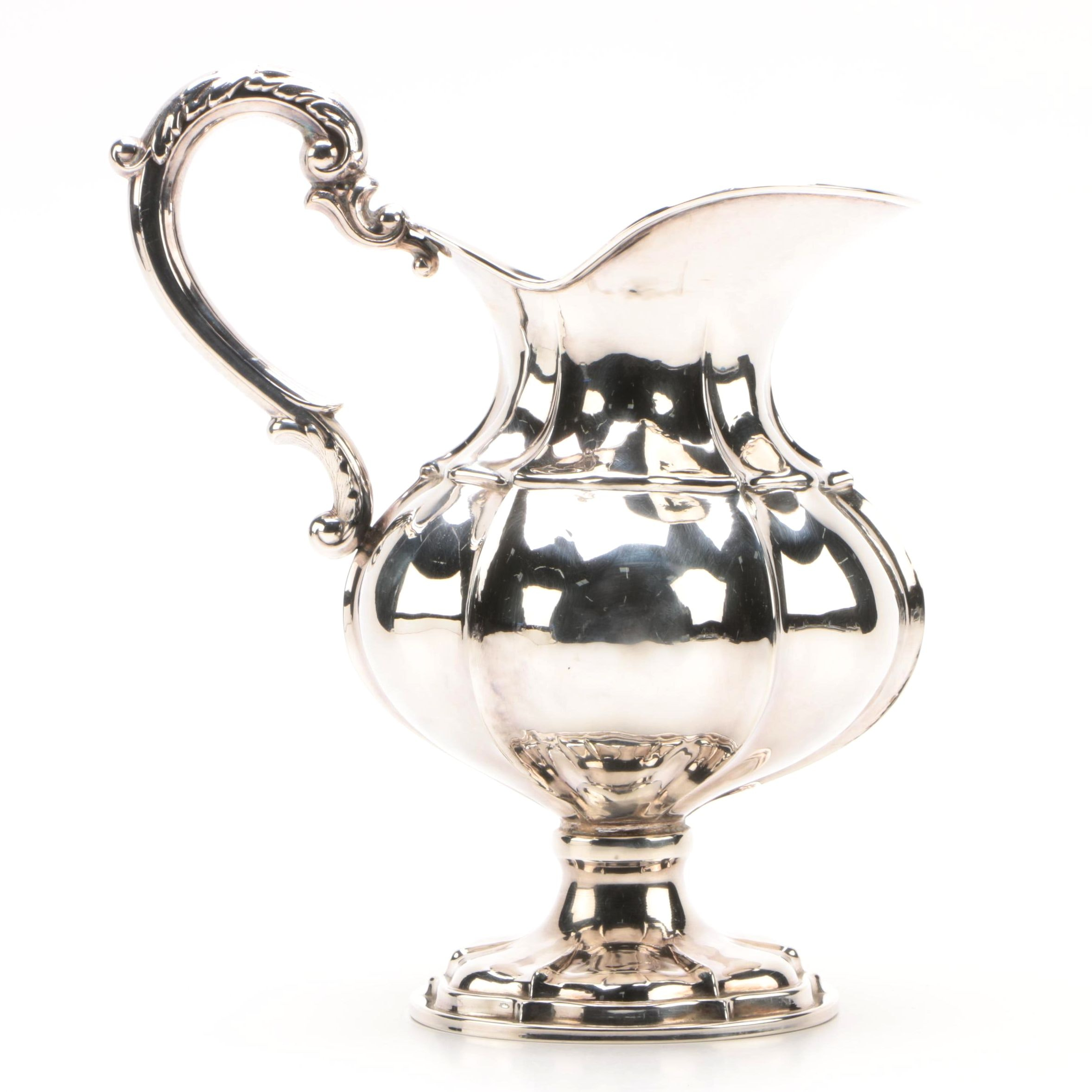 Vintage Spanish 915 Silver Pitcher with Scrolled Acanthus Motif Handle