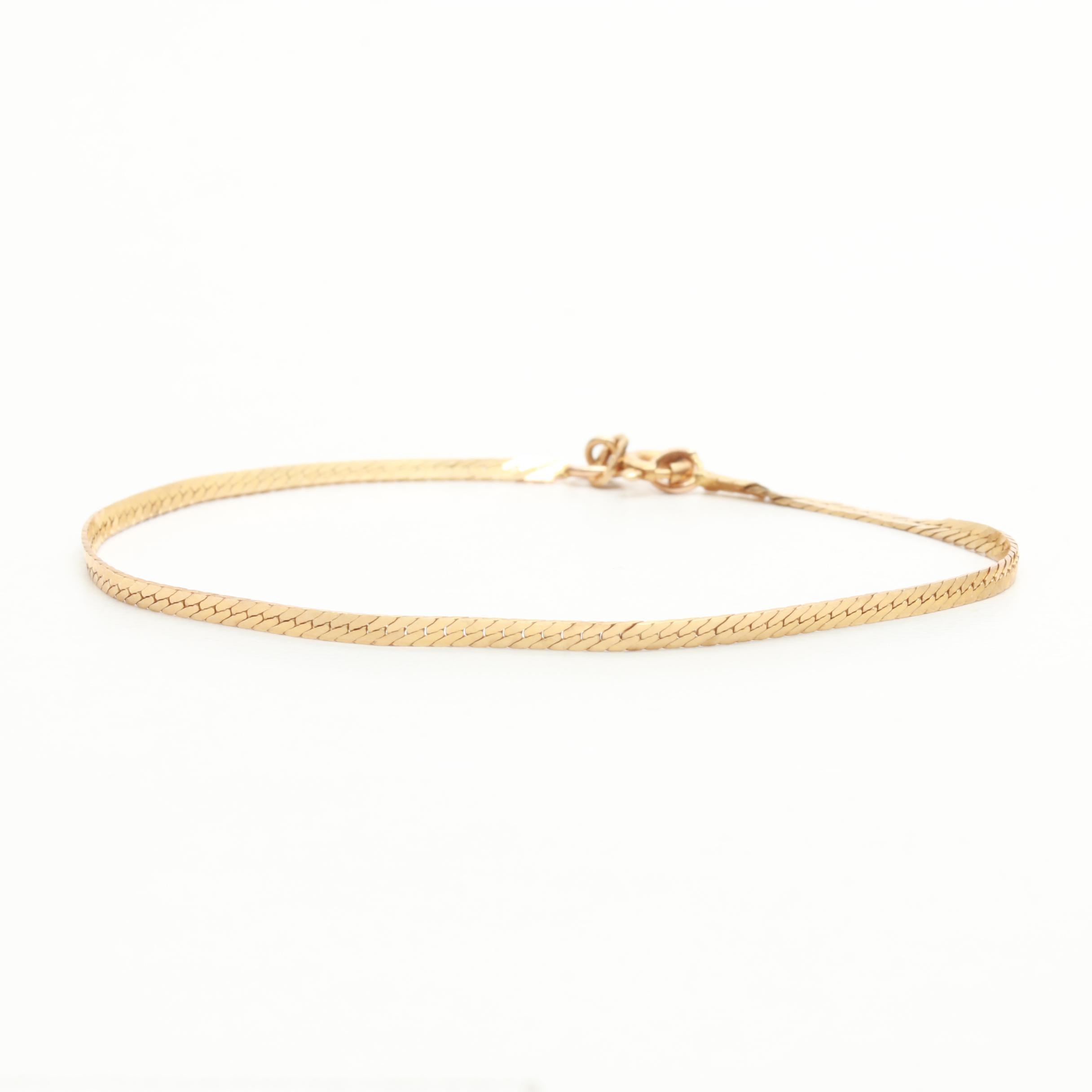 14K Yellow Gold Herringbone Chain Bracelet
