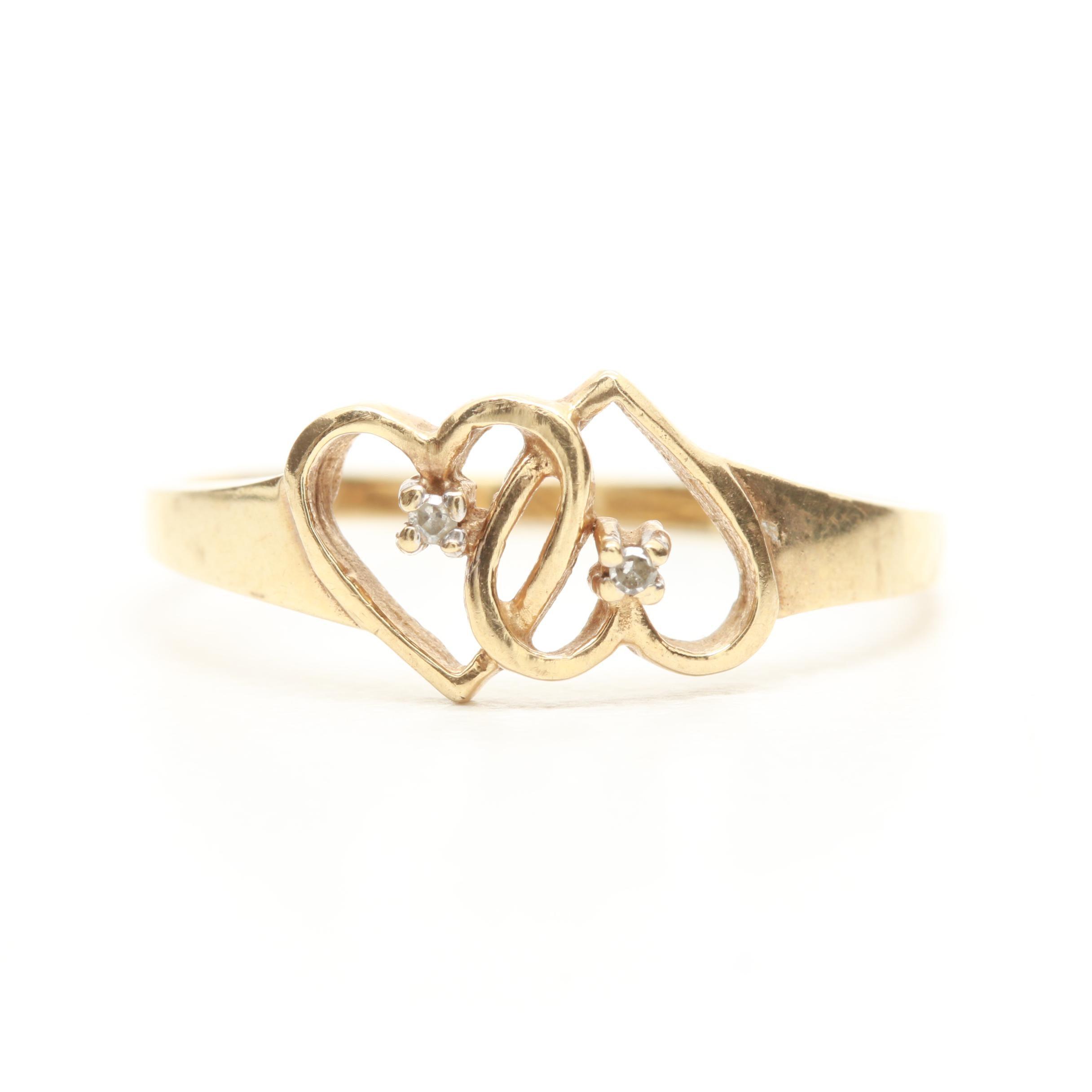 10K Yellow Gold Diamond Double Heart Ring