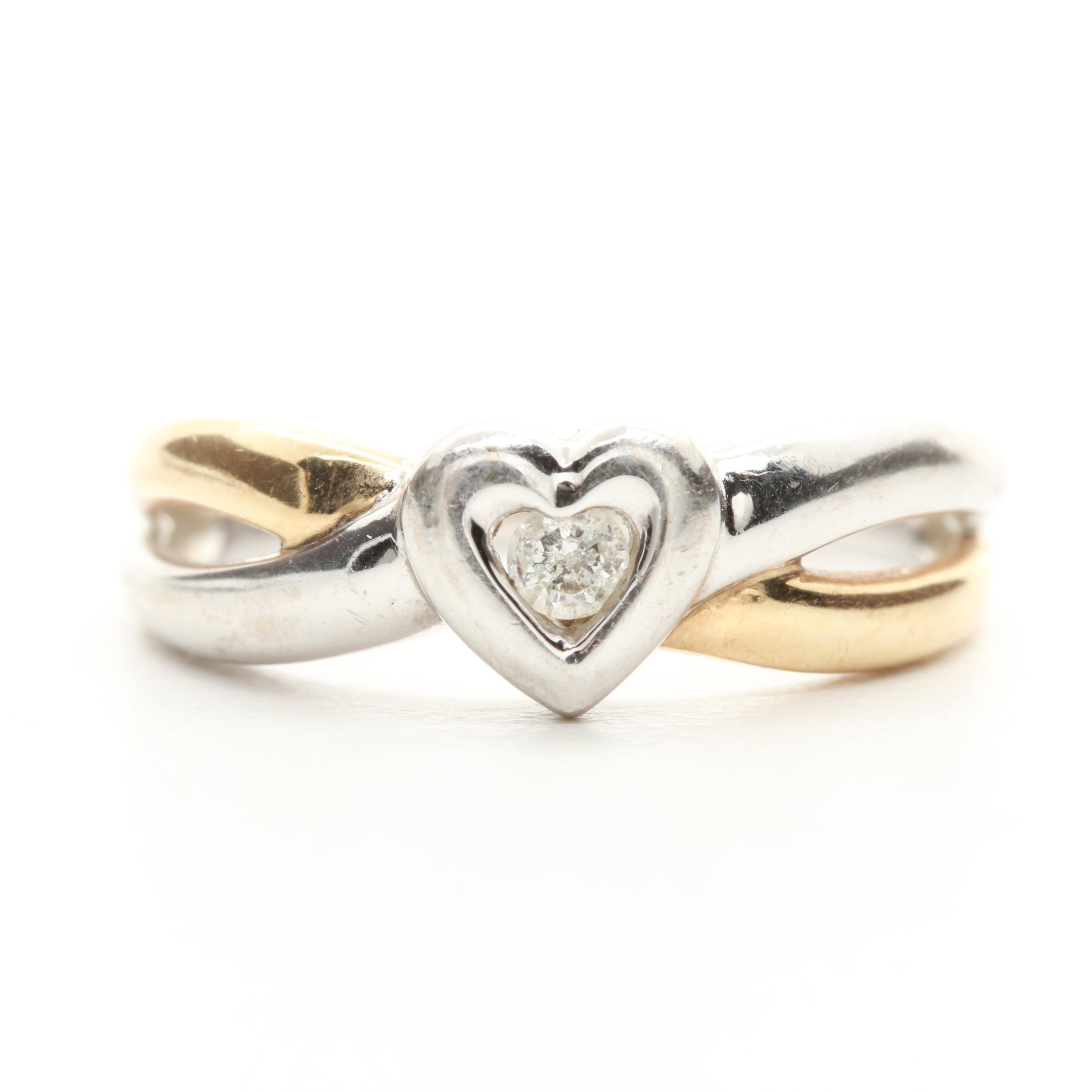 10K White and Yellow Gold Diamond Heart Ring
