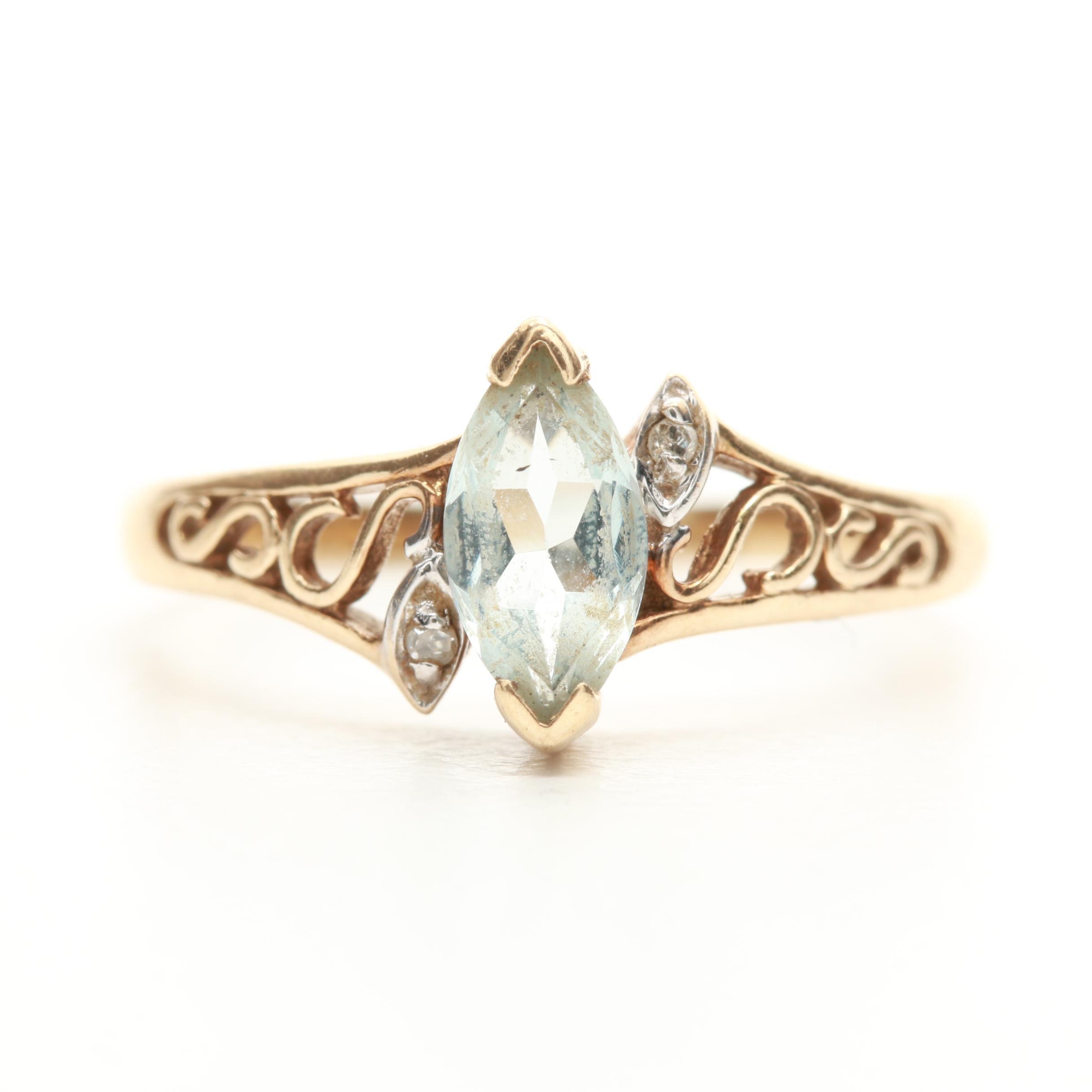 10K Yellow Gold Aquamarine and Diamond Ring