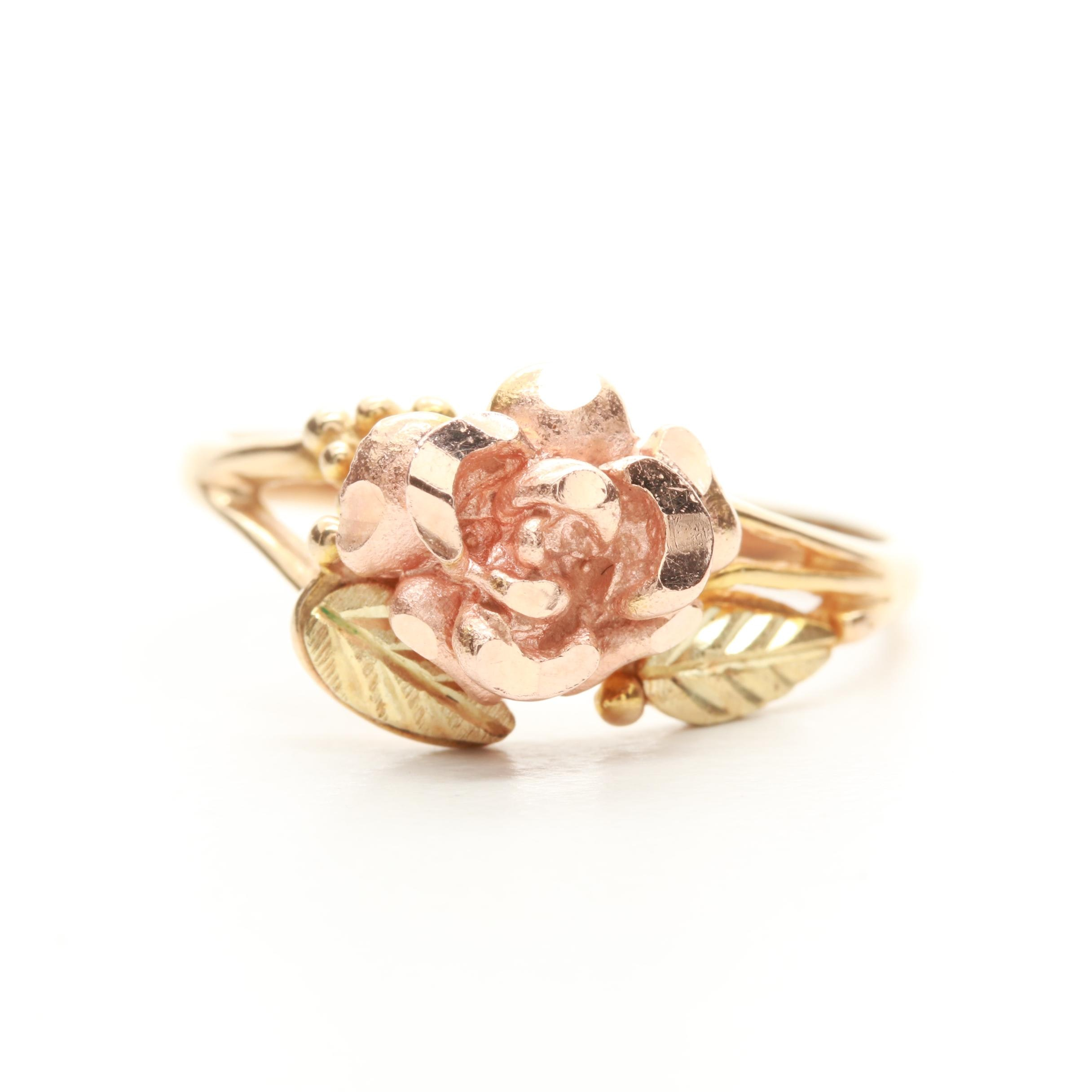 Black Hills Gold 10K Yellow Gold Flower Ring with Rose and Green Gold Accents