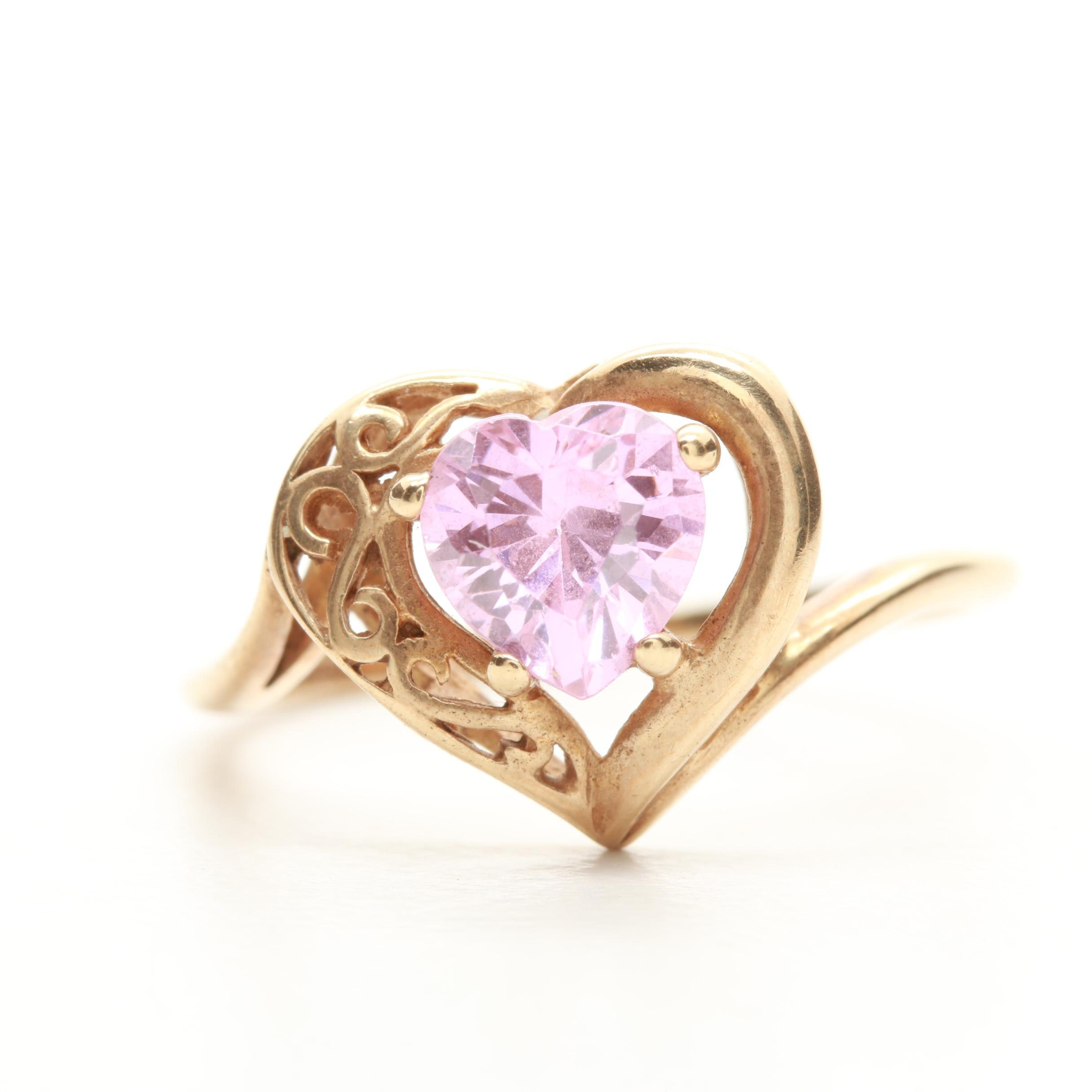 10K Yellow Gold Pink Cubic Zirconia Heart Bypass Ring