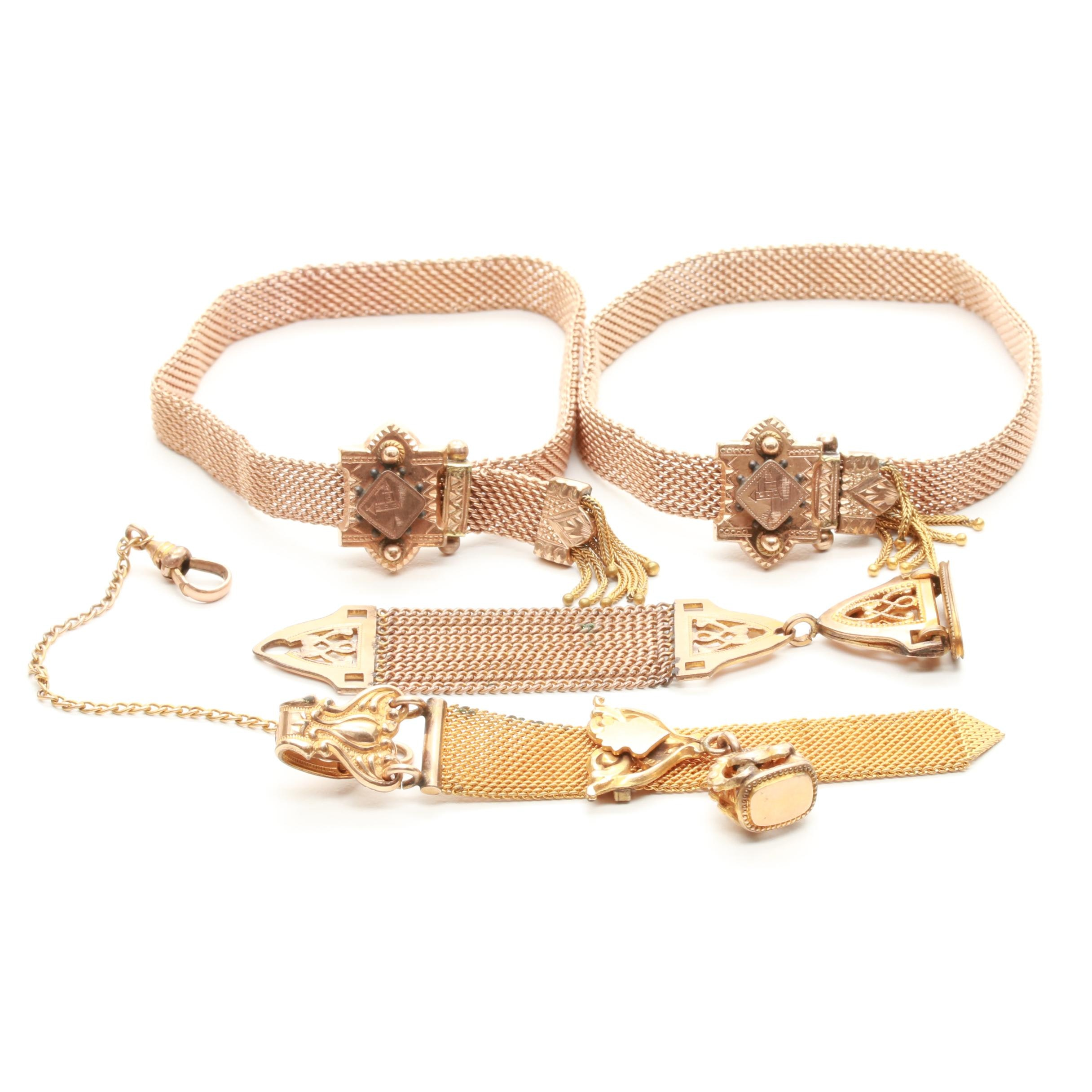 Victorian Gold Filled Slide Bracelets and Watch Fobs