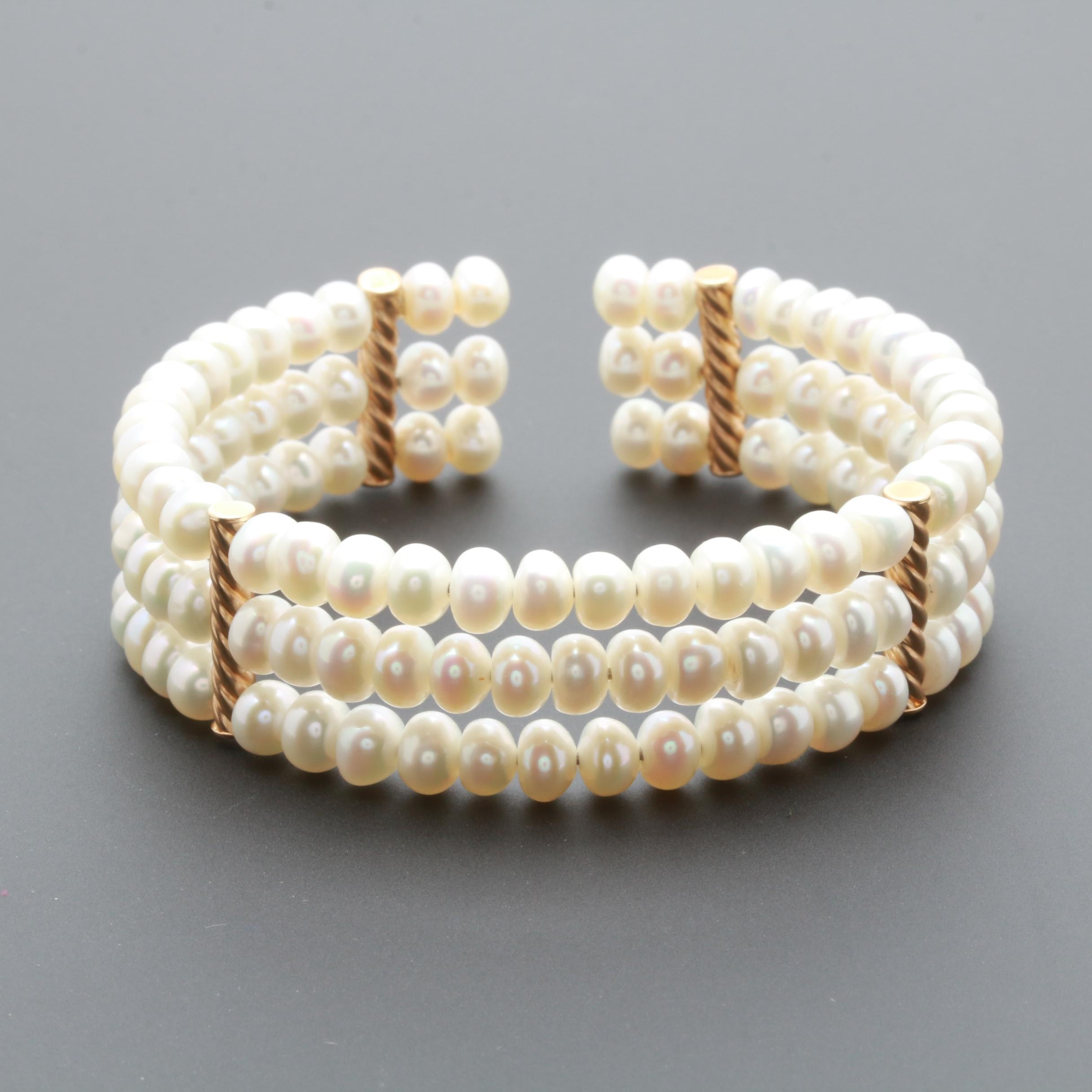 14K Yellow Gold Cultured Pearl Cuff Bracelet