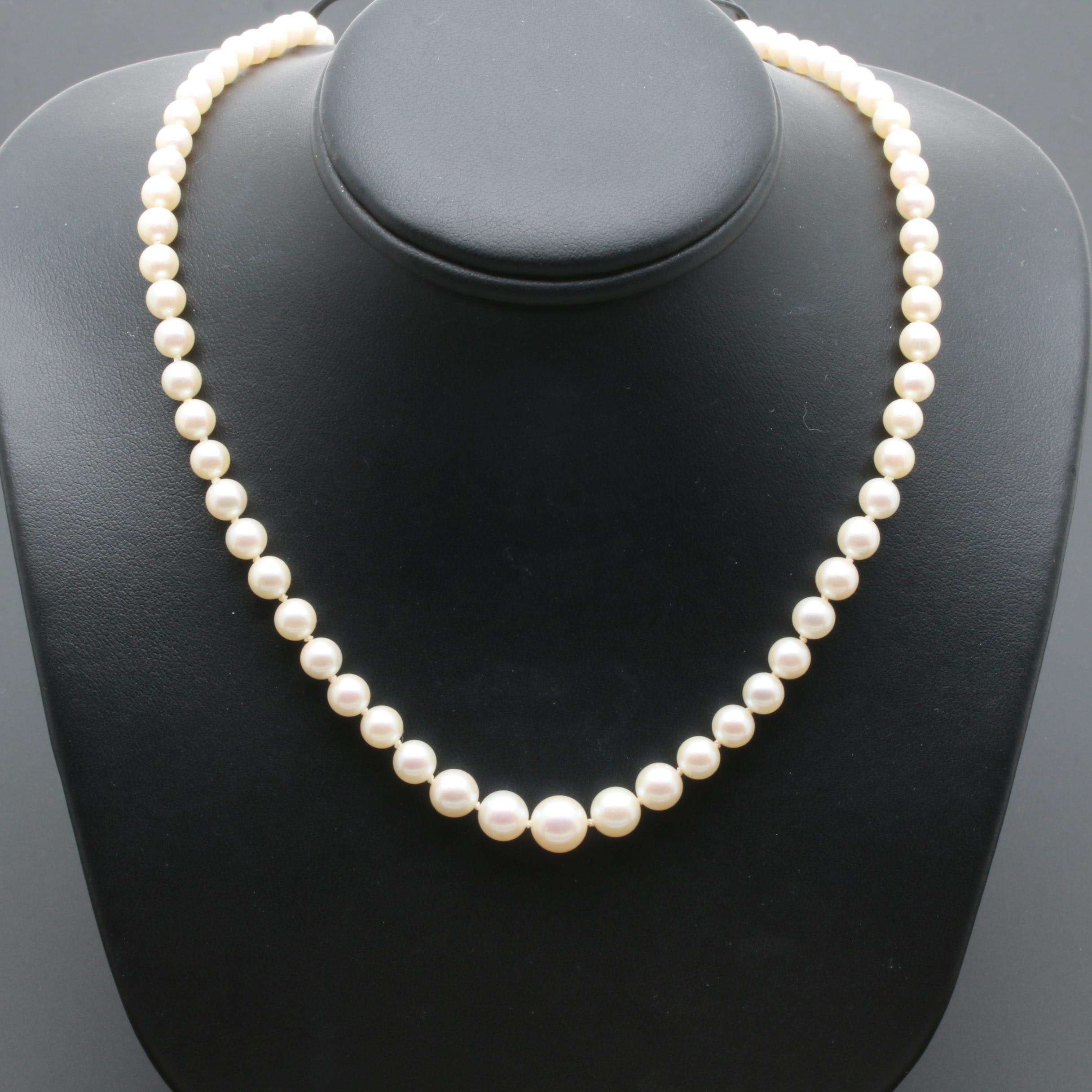 14K White Gold Cultured Pearl Graduated Princess Necklace