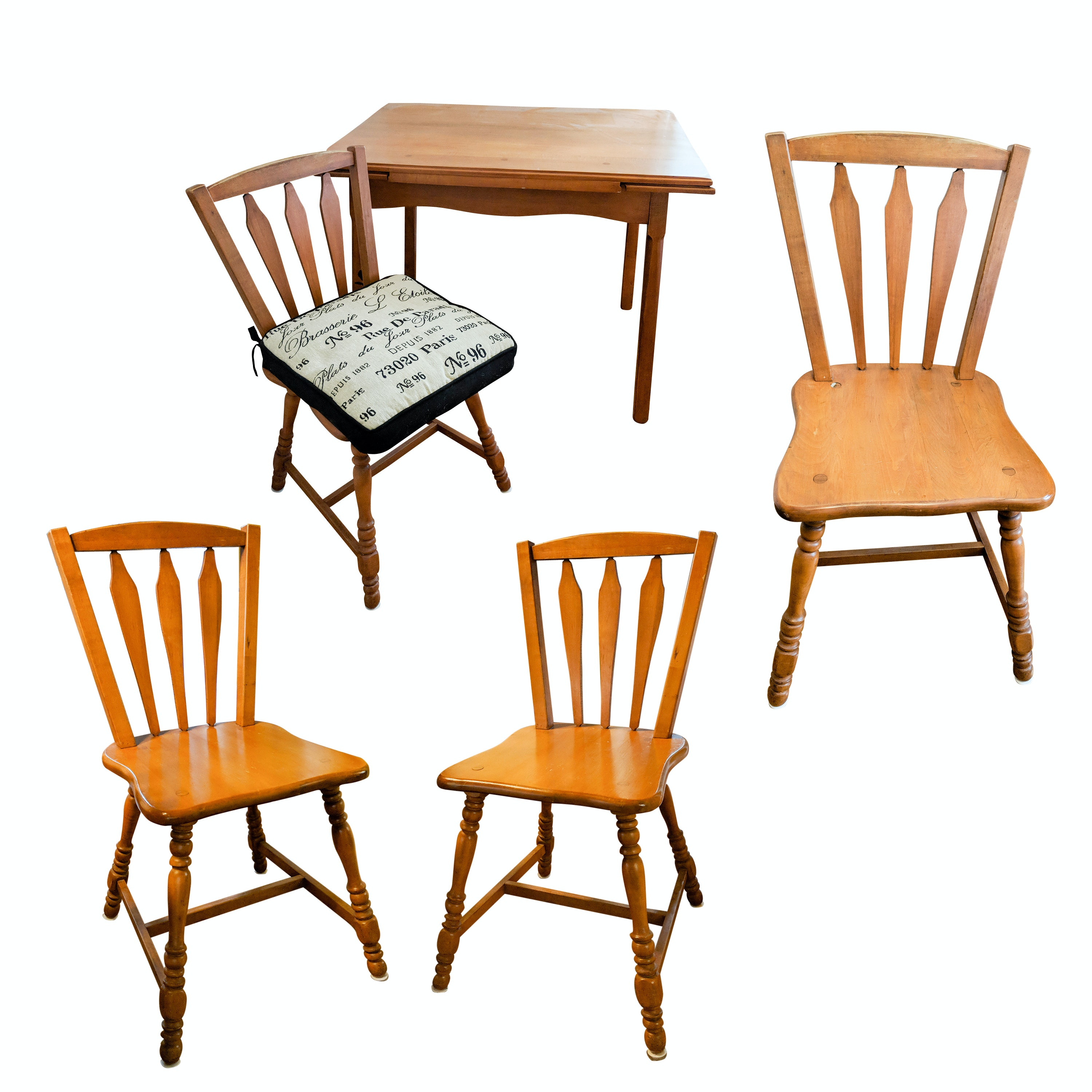 Vintage Shaker Style Adjustable Dining Table And Four Chairs ...