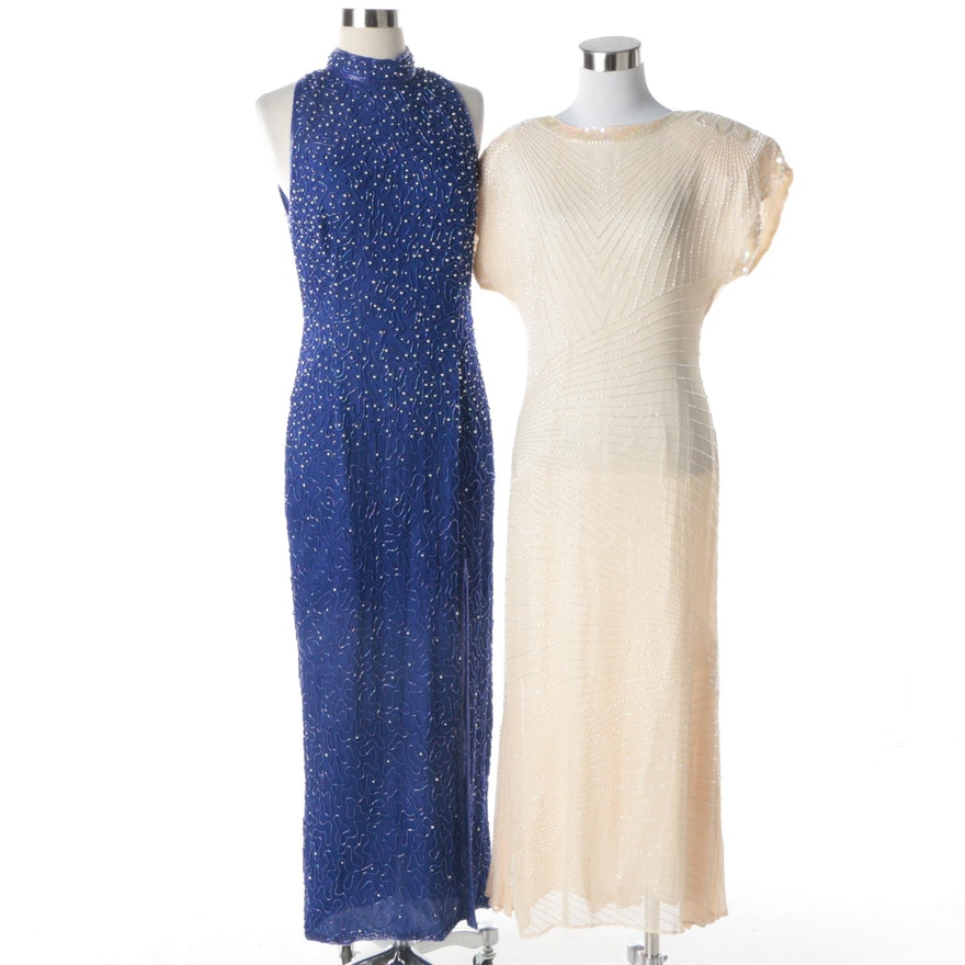 Oleg Cassini and Papéll Boutique Beaded Evening Gowns : EBTH