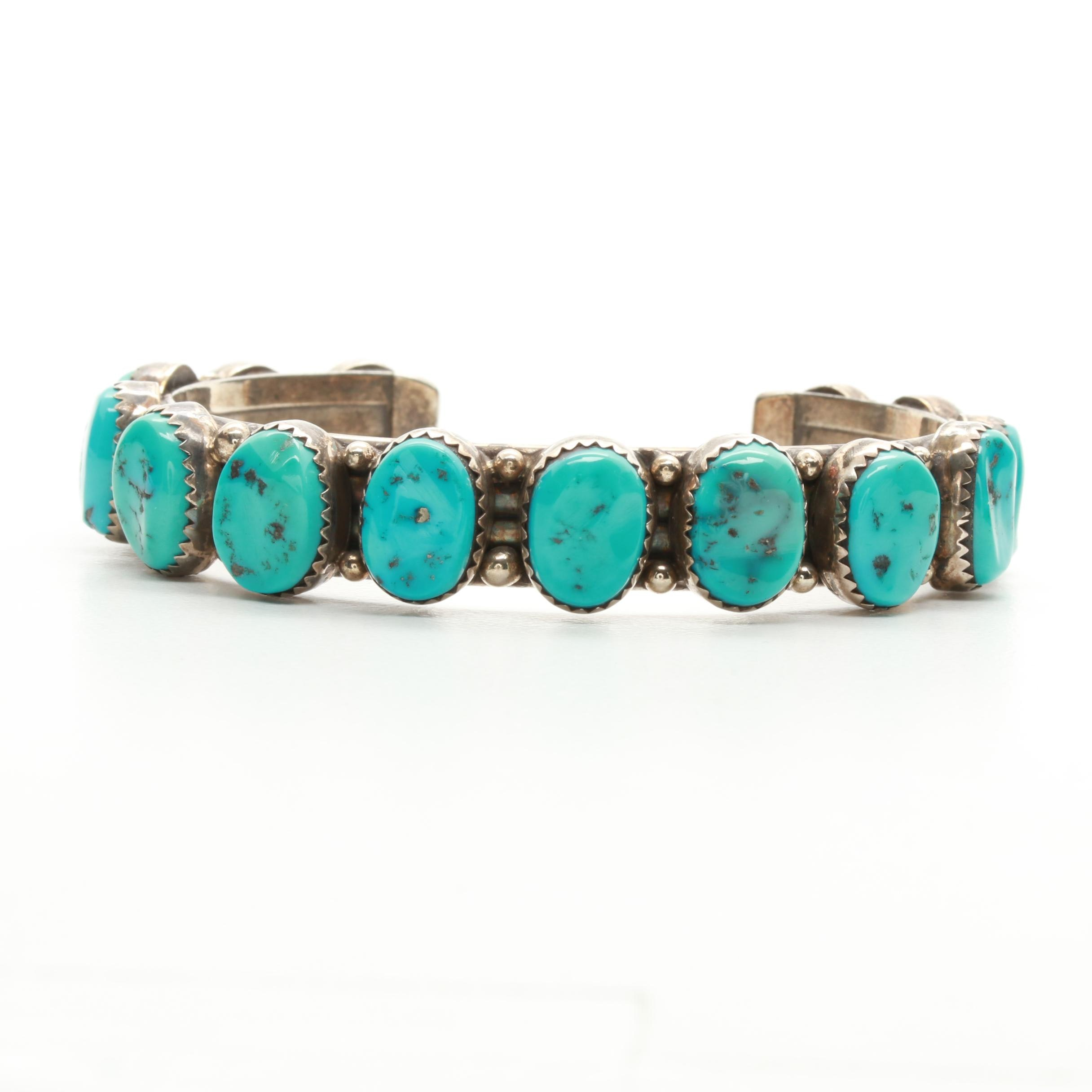 Southwest Style Sterling Silver Stabilized Turquoise Cuff Bracelet