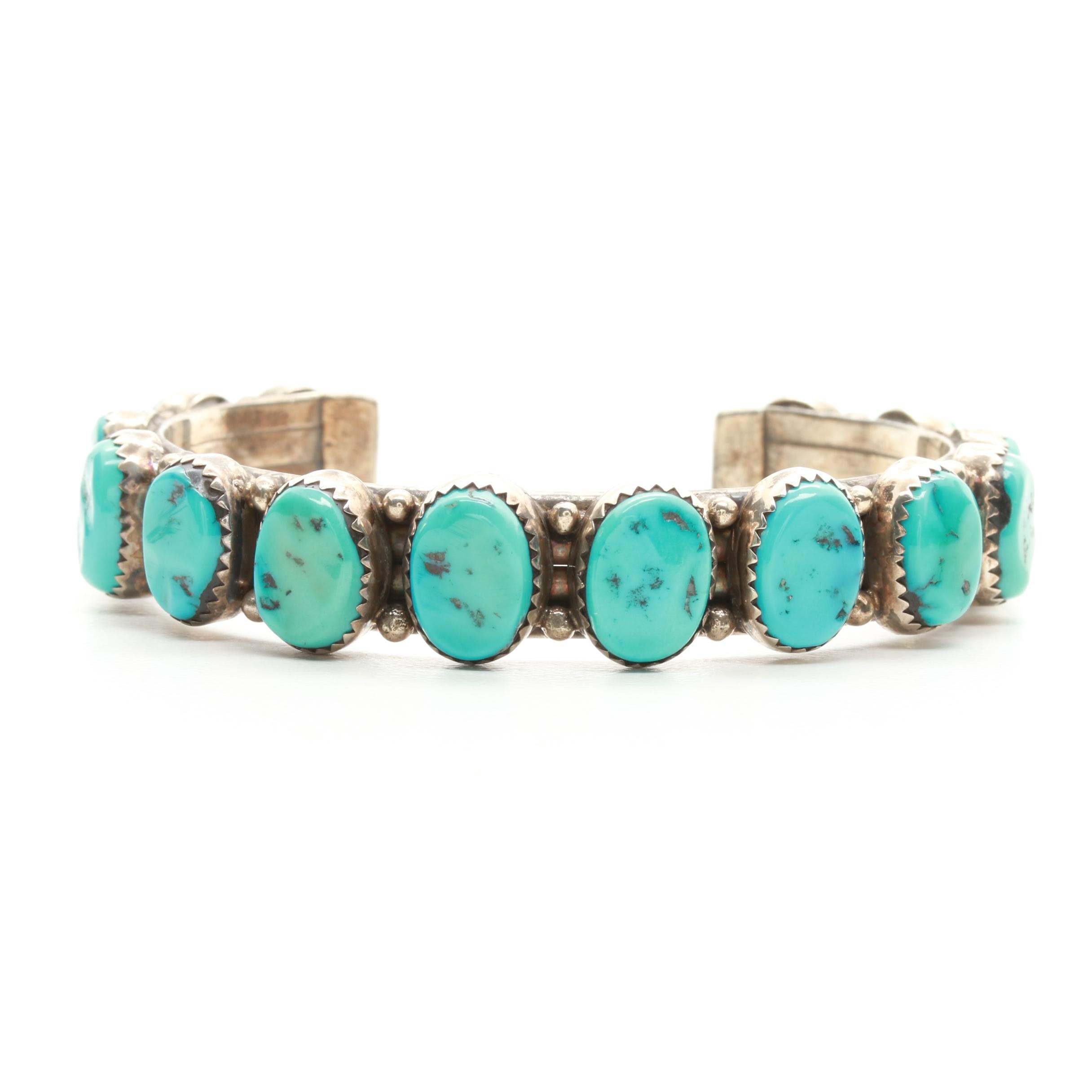 Southwestern Style Sterling Silver Stabilized Turquoise Cuff Bracelet